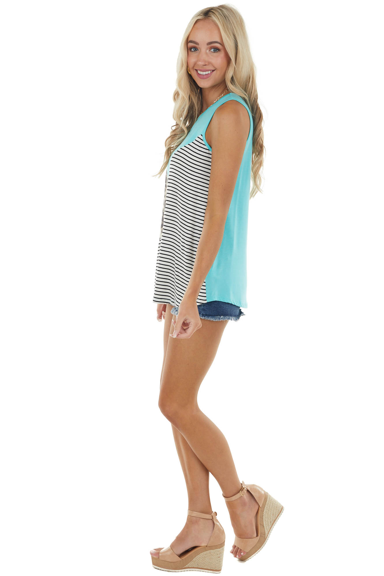 Aqua Sleeveless Stretchy Knit Top with Contrasting Prints