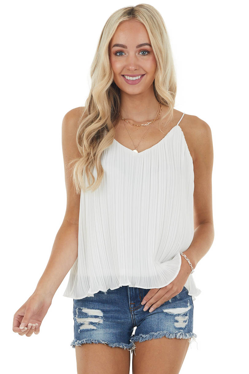 Off White Pleated Camisole Blouse with Lettuce Hemline
