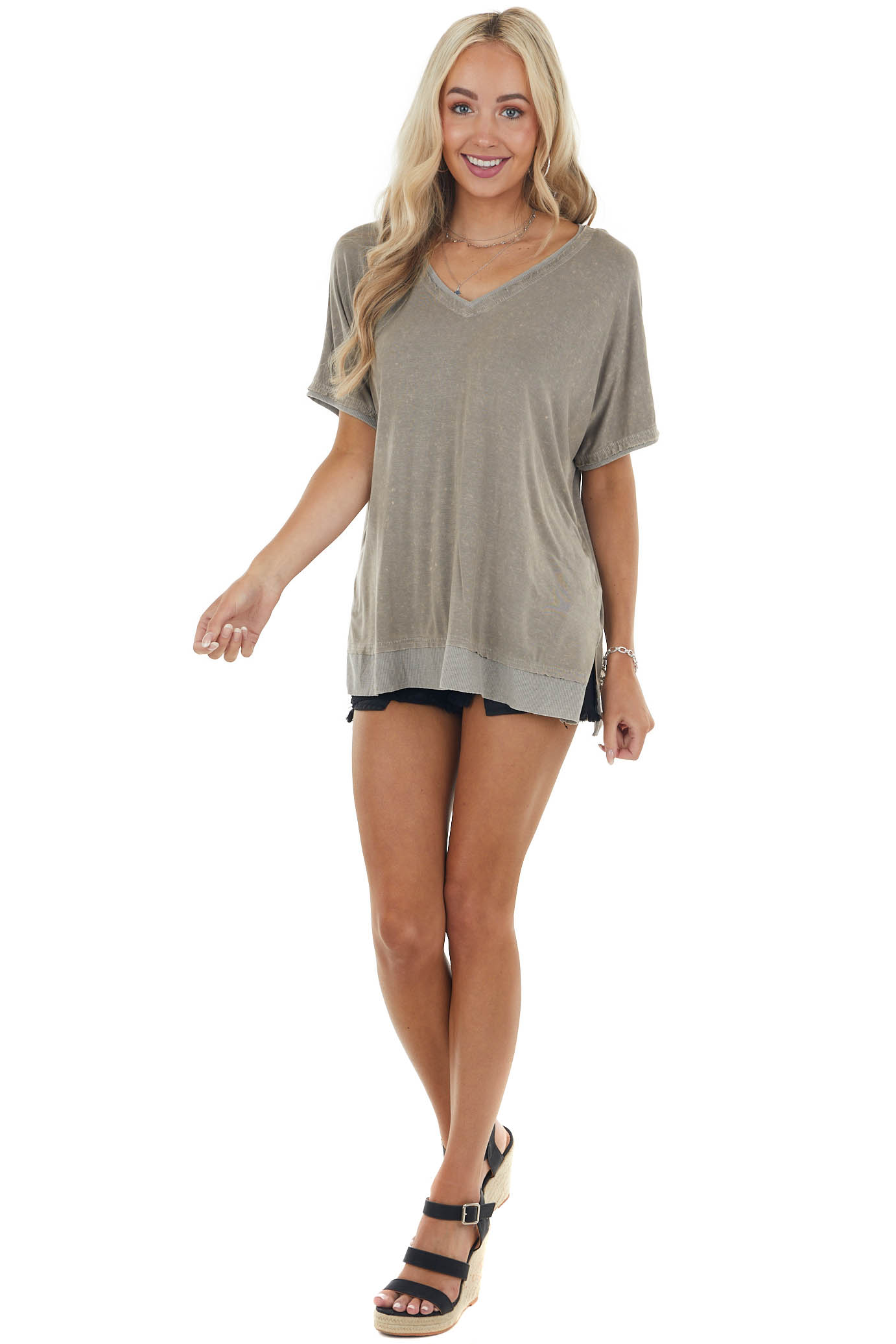 Taupe V Neck Stretchy Loose Fit Knit Top with Short Sleeves