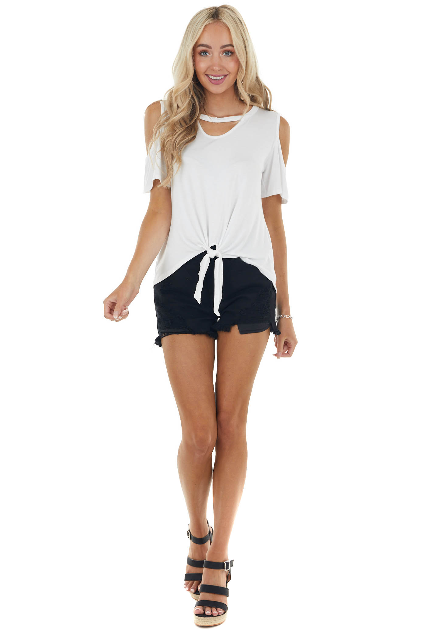 Ivory Short Sleeve Knit Top with Front Tie Detail