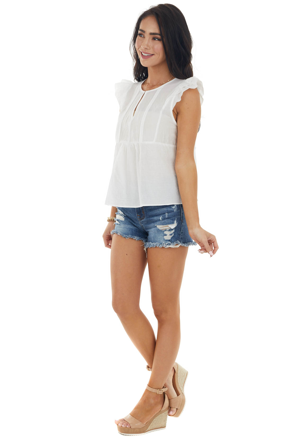 Off White Cap Sleeve Notch Neckline Top with Pintuck Detail