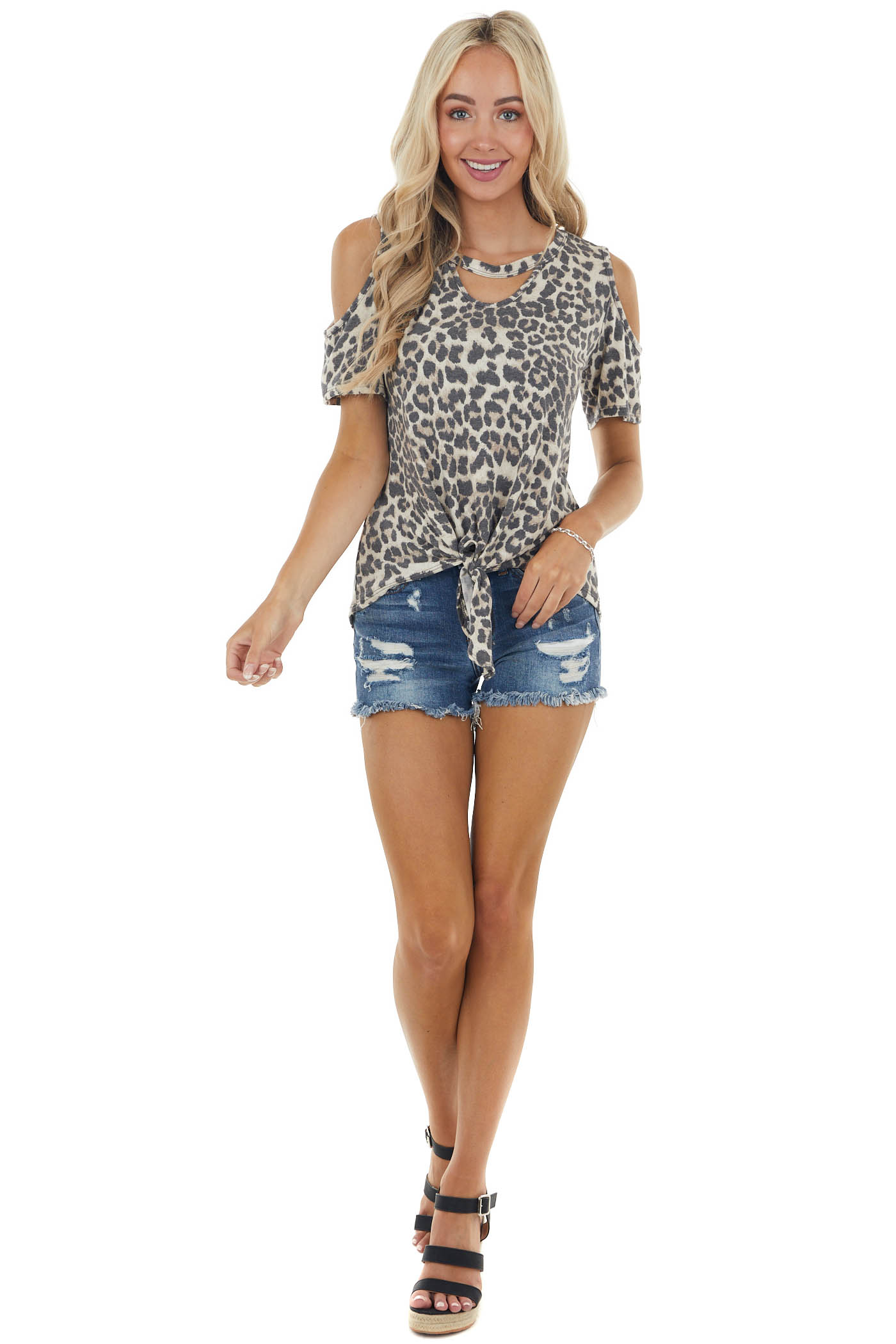 Latte Leopard Print Short Sleeve Top with Front Tie Detail
