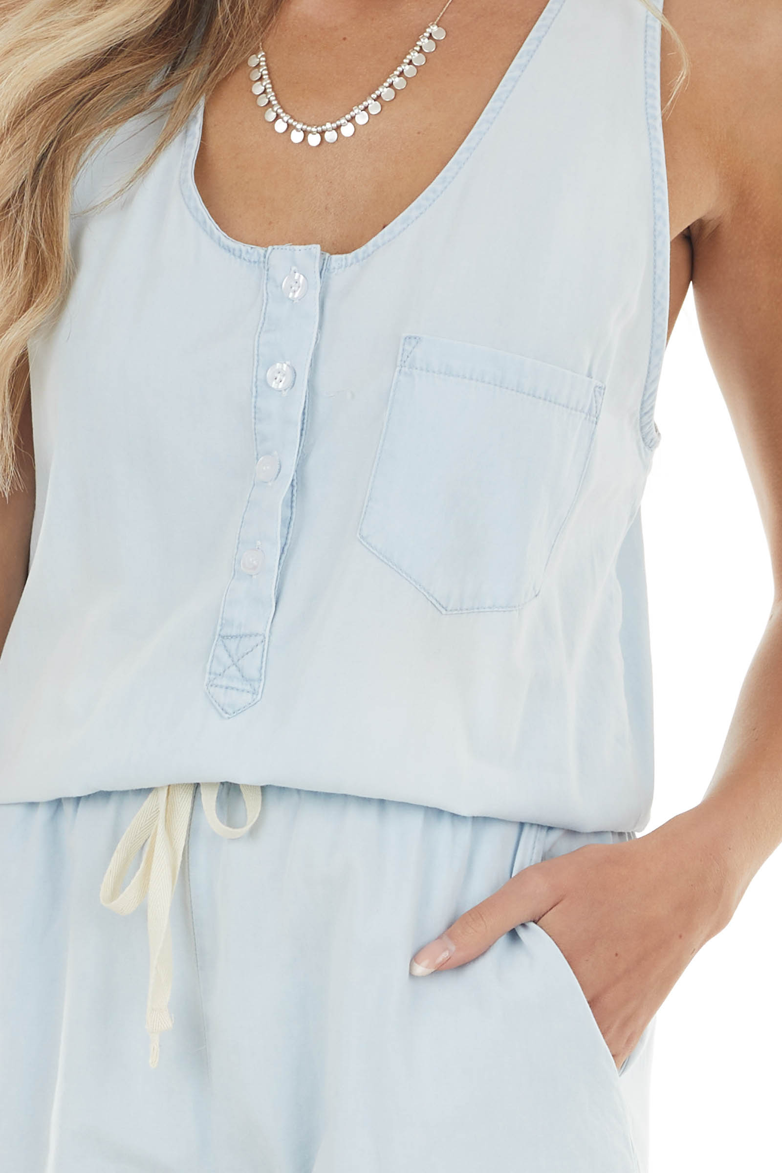 Pastel Blue Sleeveless Drawstring Romper with Side Pockets