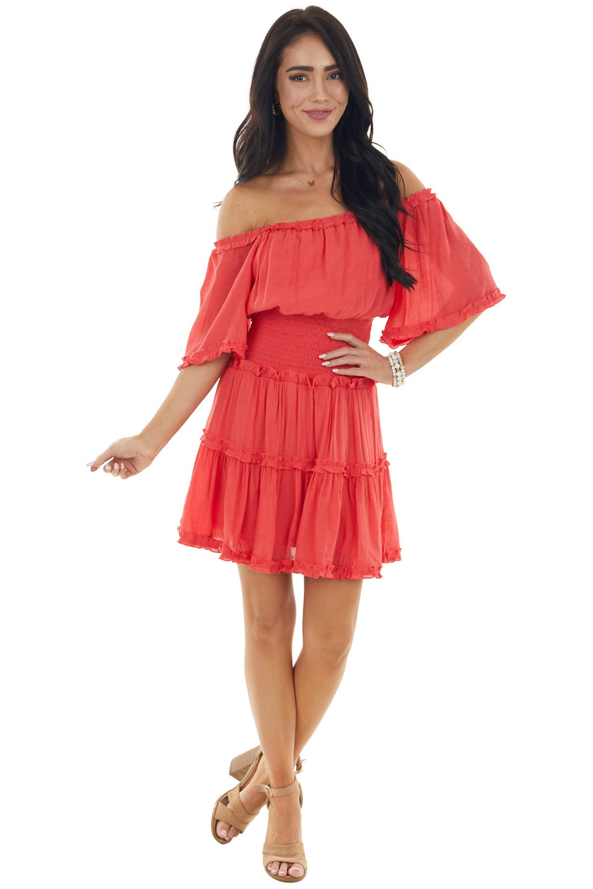 Watermelon Frilled Off Shoulder Dress with Smocked Waist