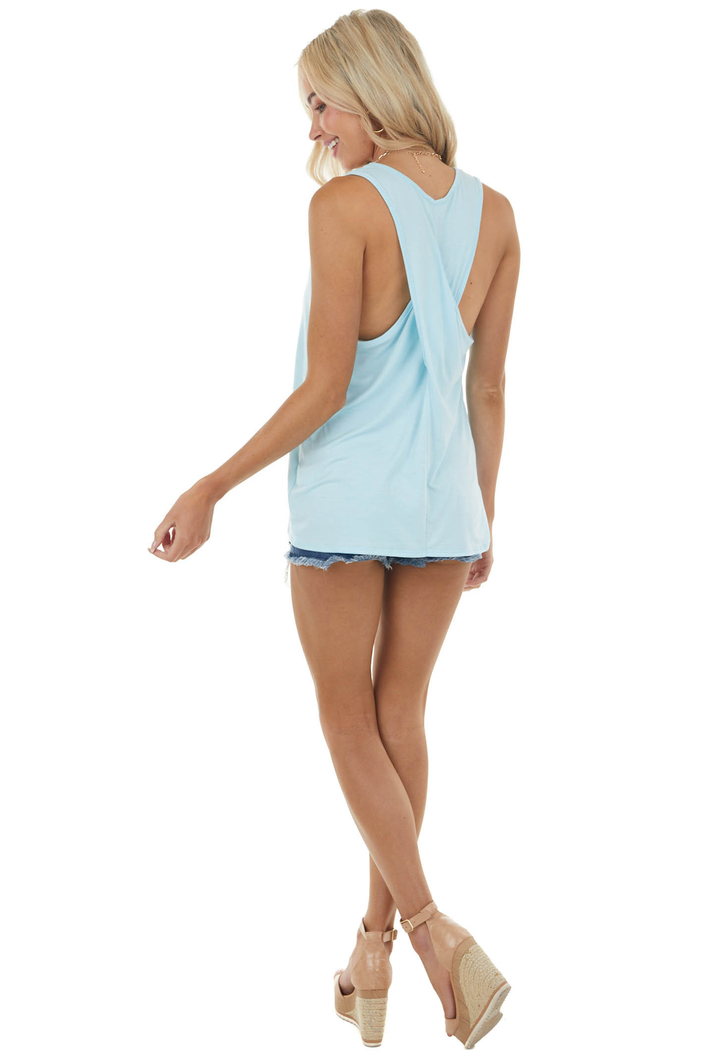 Baby Blue Sleeveless Top with Criss Cross Racerback