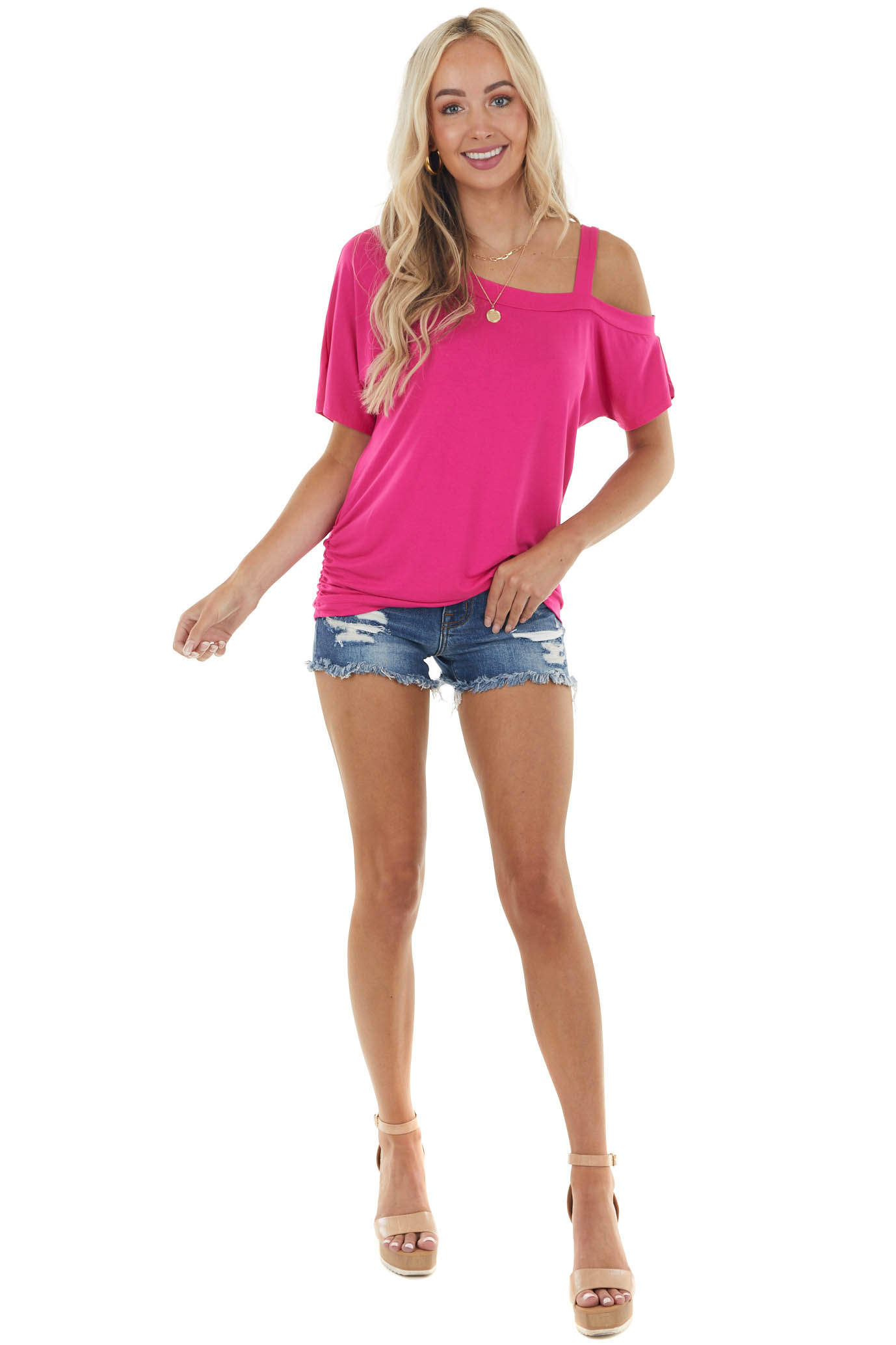 Magenta Short Sleeve One Cold Shoulder Top with Ruching