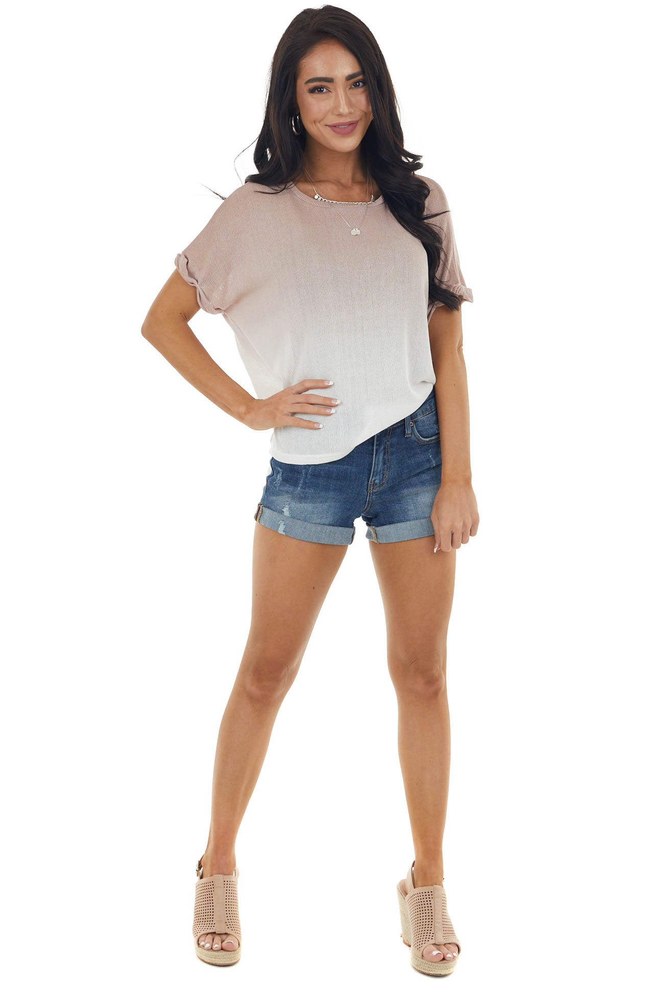 Dusty Rose and Ivory Ombre Loose Knit Short Sleeve Top