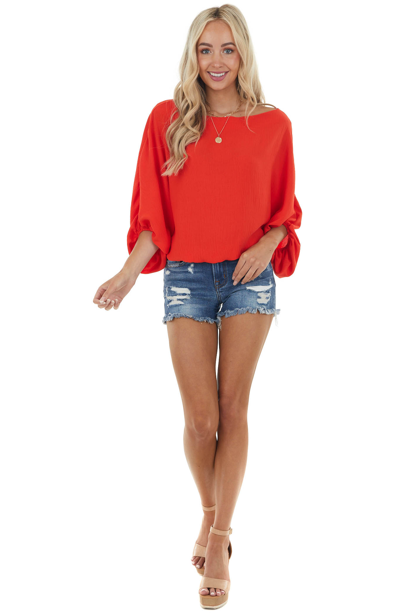 Scarlet Boat Neckline Blouse with Dolman Bubble Sleeves