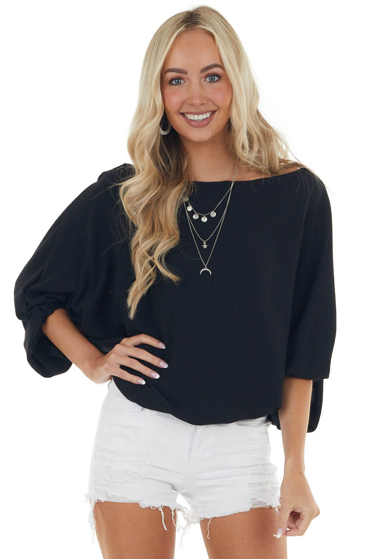 Black Boat Neckline Blouse with Dolman Bubble Sleeves