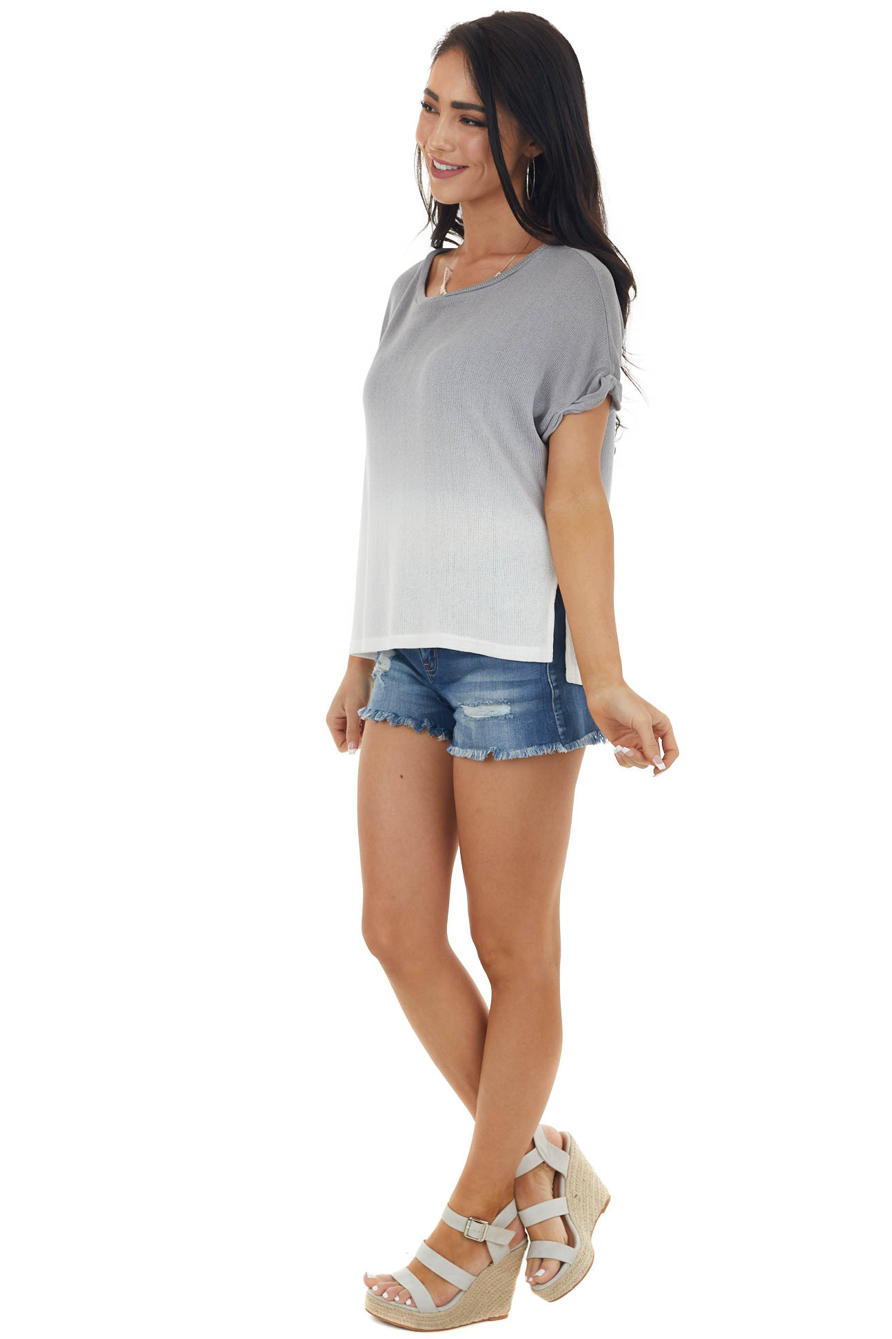 Slate Grey and Ivory Ombre Loose Knit Short Sleeve Top