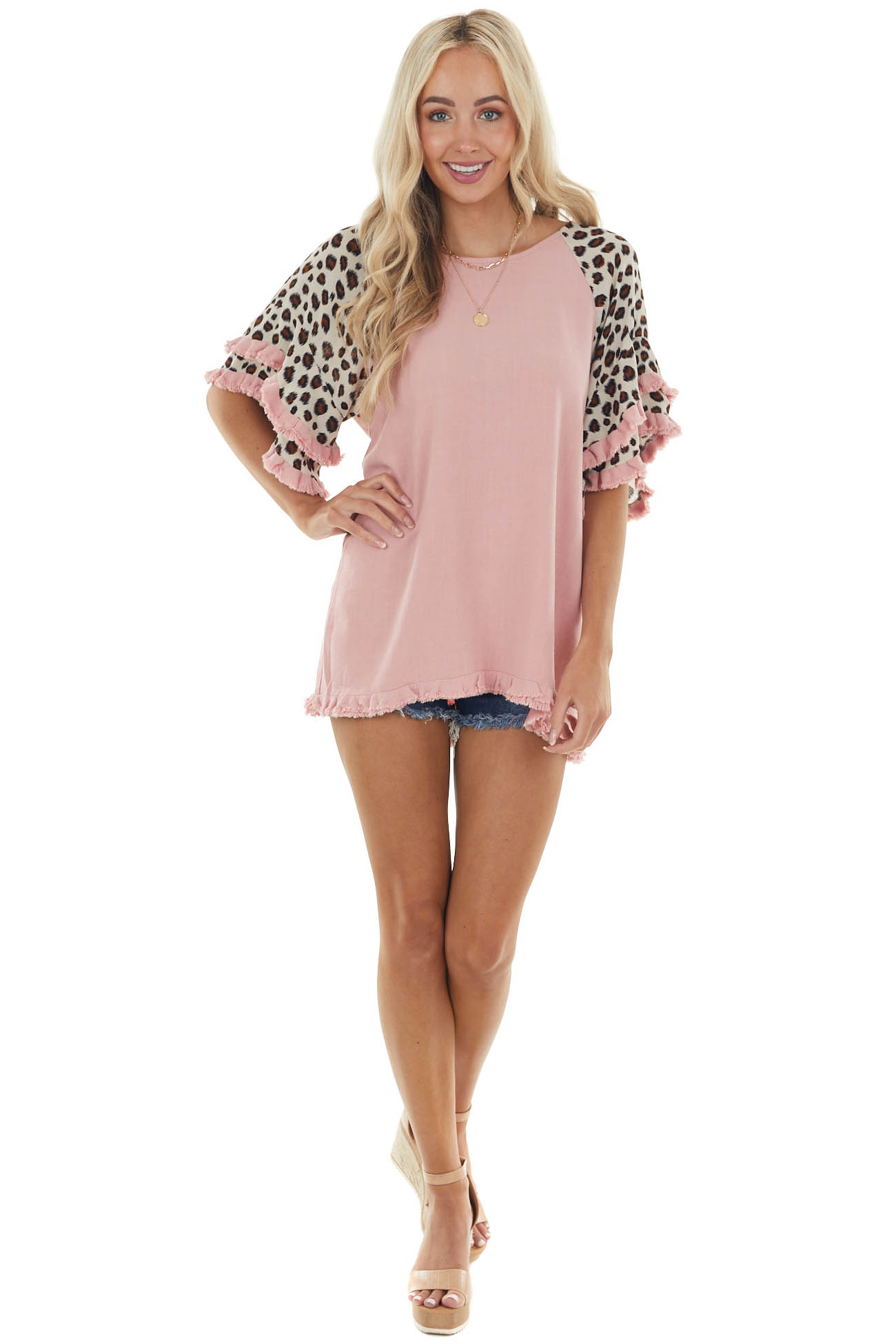 Rose Leopard Print Flare Sleeve Linen Top with Raw Detail