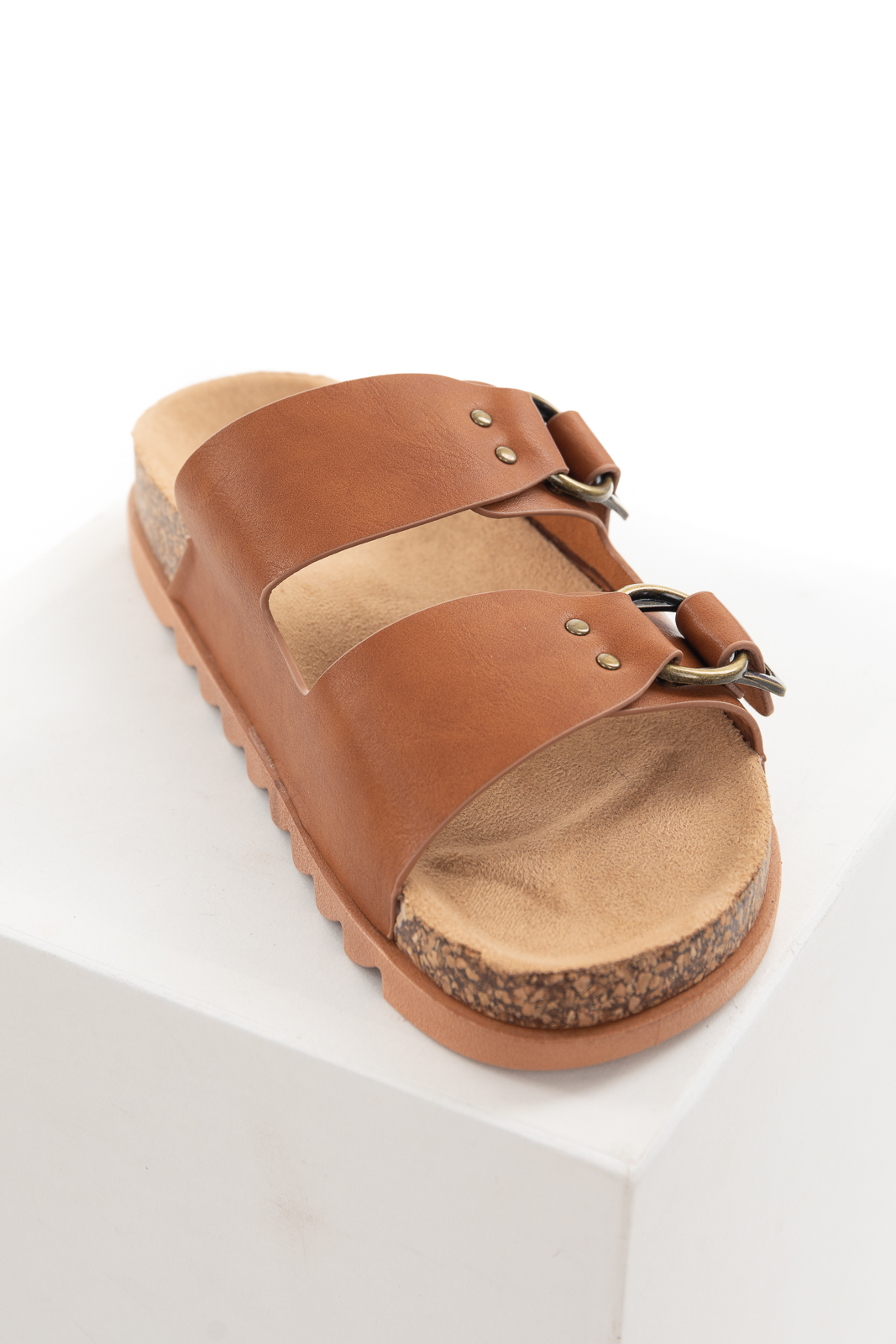 Sepia Open Toe Sandal with Buckle and Stud Detail