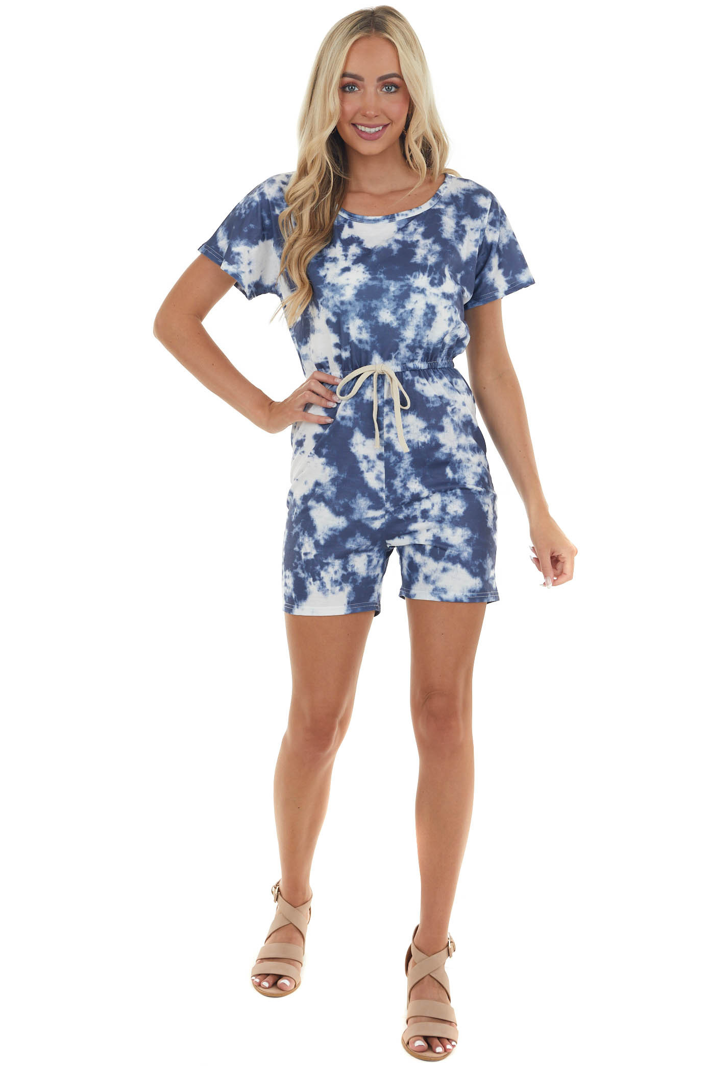 Stormy Blue Tie Dye Short Sleeve Knit Romper with Front Tie