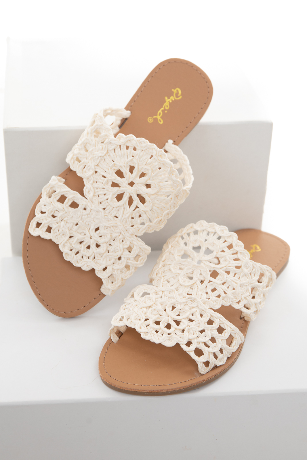 Cream Open Toe Sandal with Woven Patterned Details