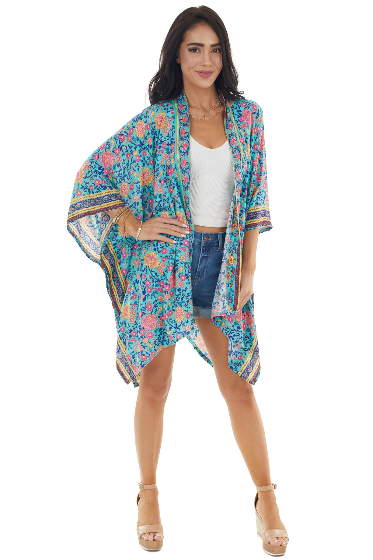 Teal Multicolor Floral Print 3/4 Sleeve Flowy Fit Kimono