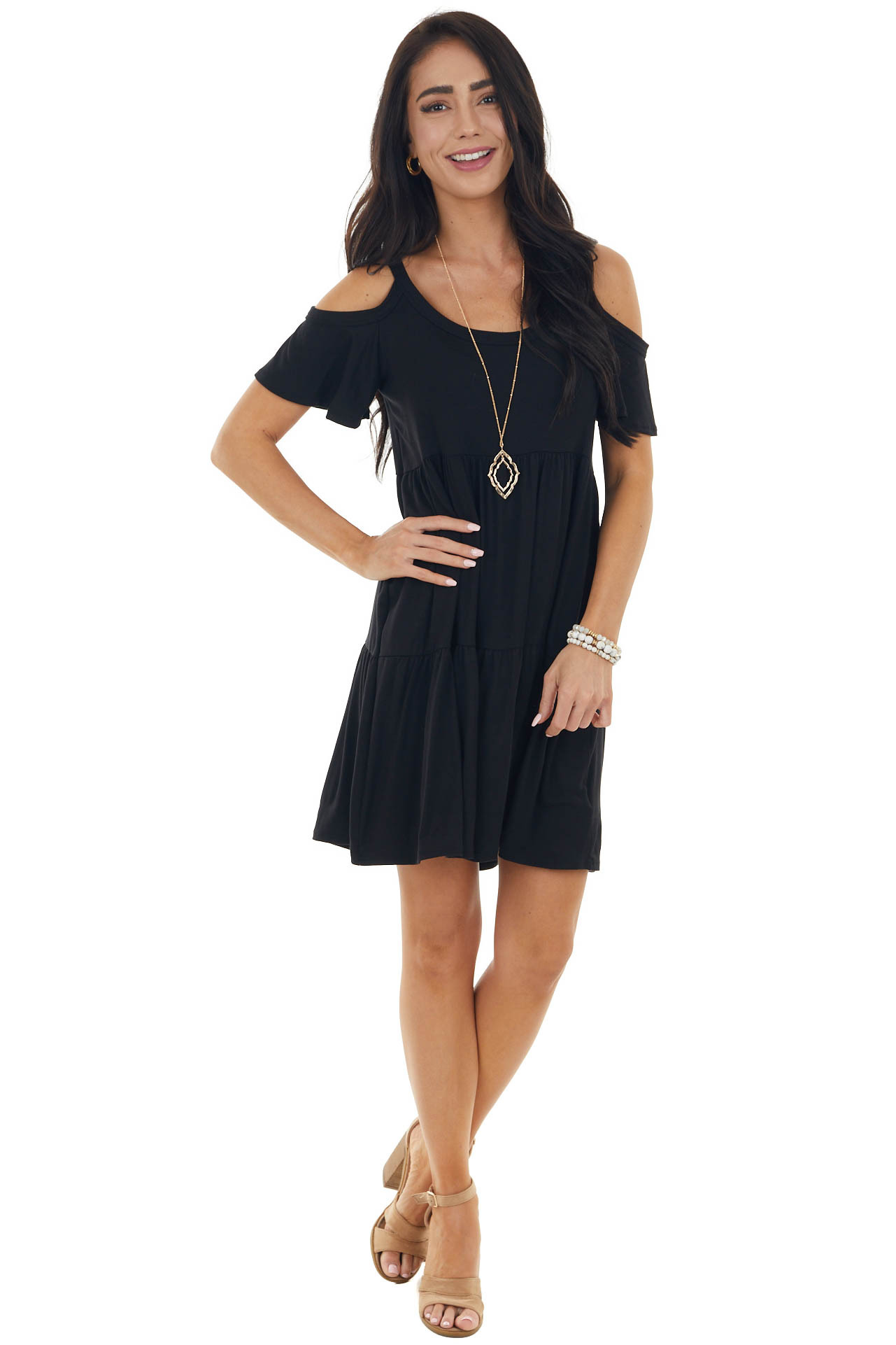 Black Babydoll Tiered Knit Short Dress with Cold Shoulders