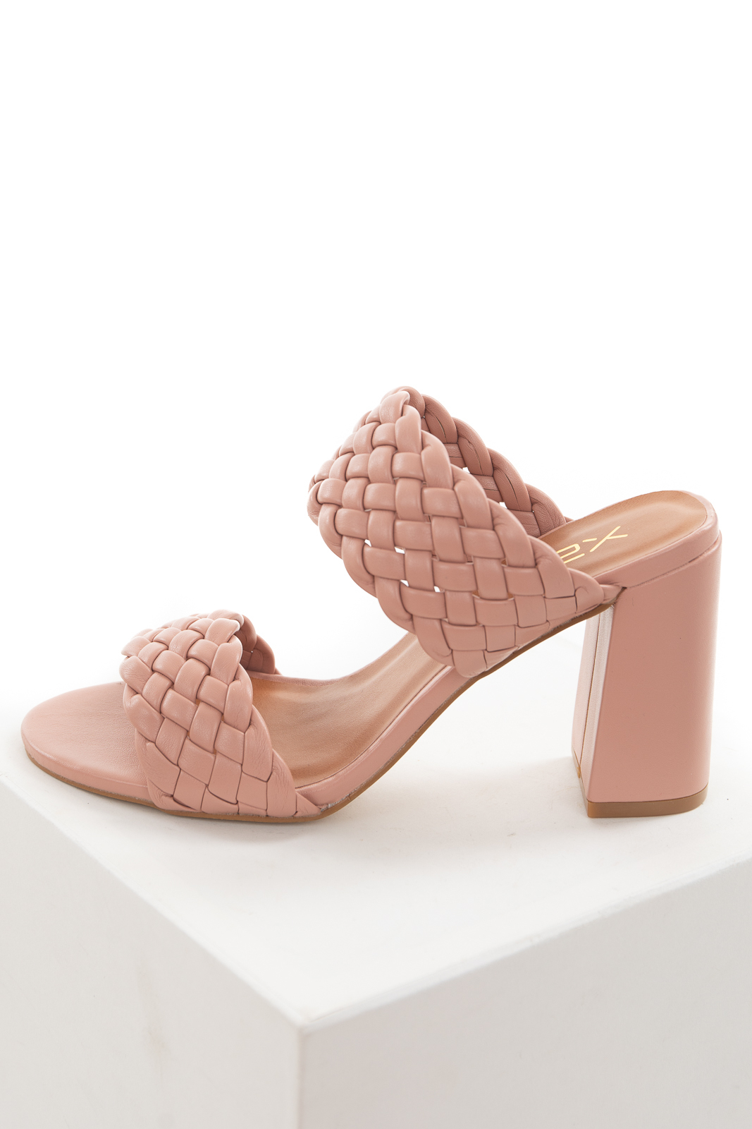 Rose Taupe Open Toe Strappy Heel with Woven Details