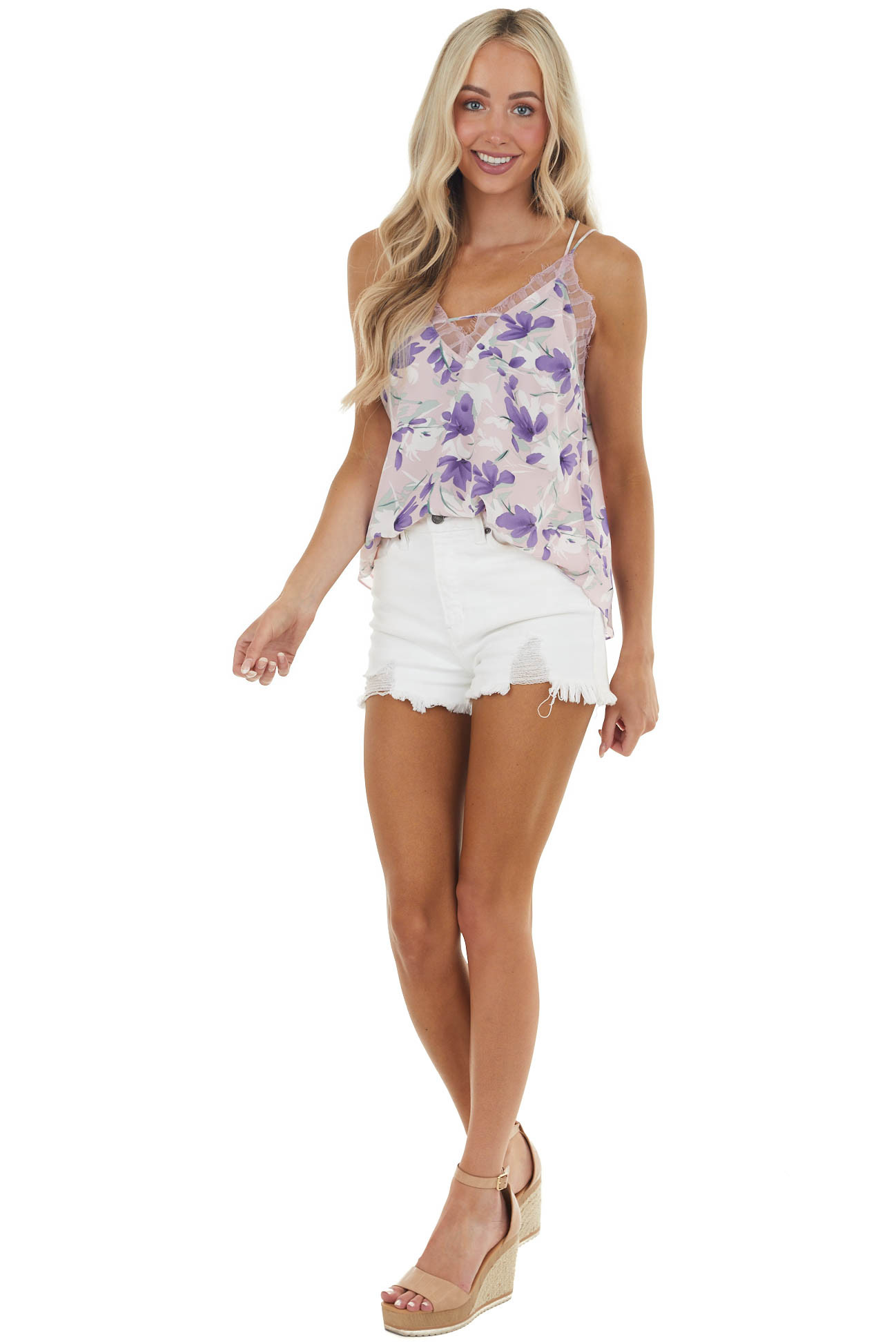 Dusty Blush Floral Dual Strap Tank Top with Lace Detail