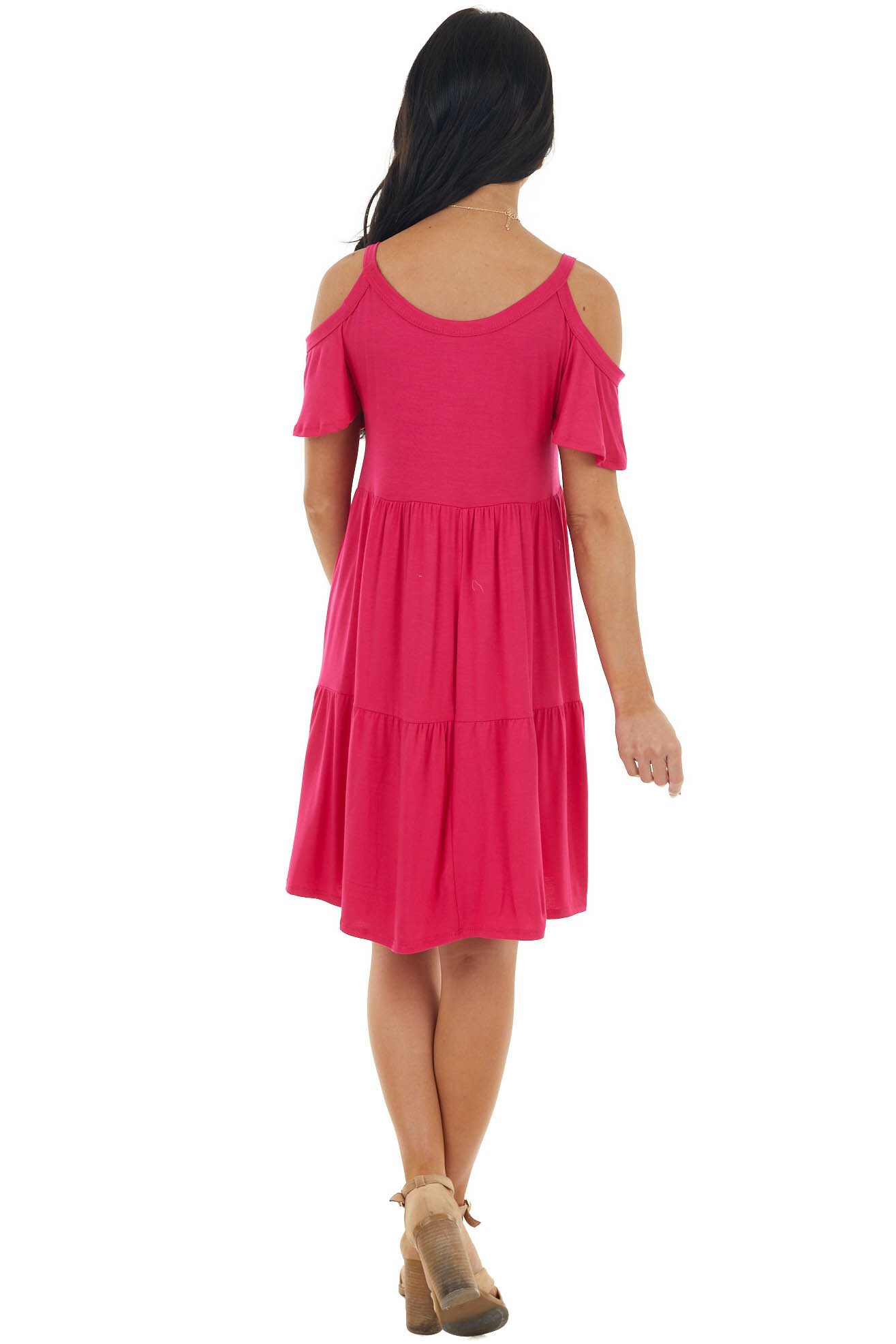 Magenta Babydoll Tiered Knit Short Dress with Cold Shoulders