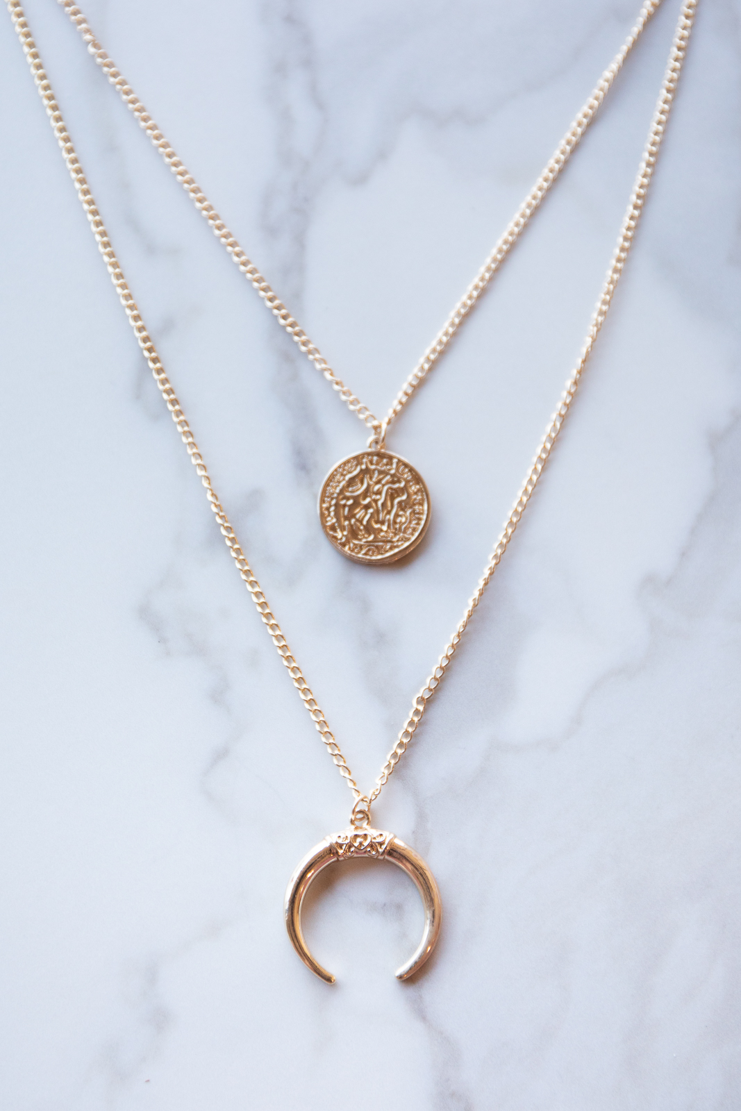 Gold Layer Necklace with Coin and Crescent Pendant
