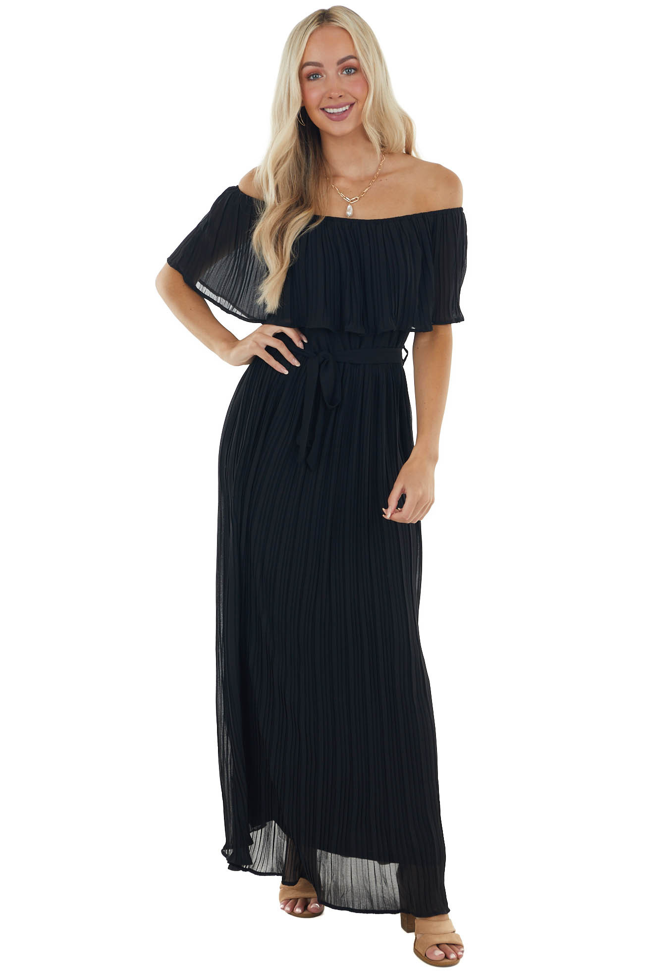 Black Pleated Maxi Dress with Overlay Bust and Waist Tie