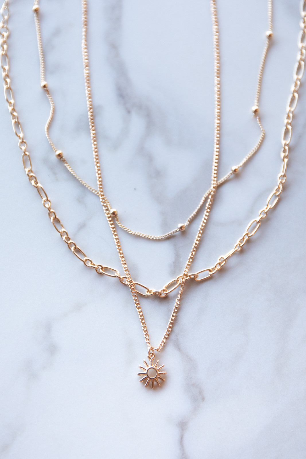 Gold Sun Charm Necklace Set with Lobster Claw Closure