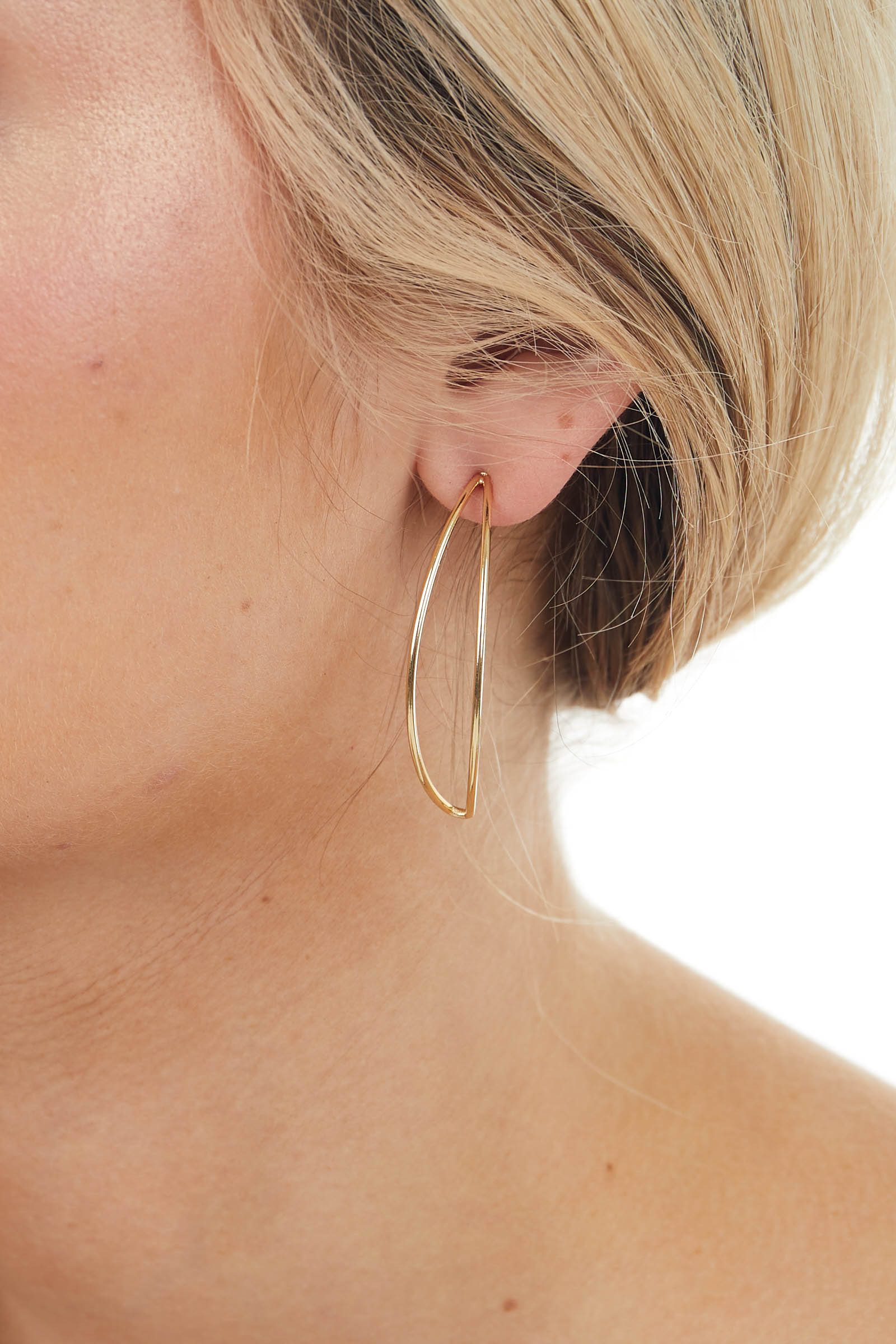 Gold Crescent Shaped Hoop Drop Earrings with Push Backs