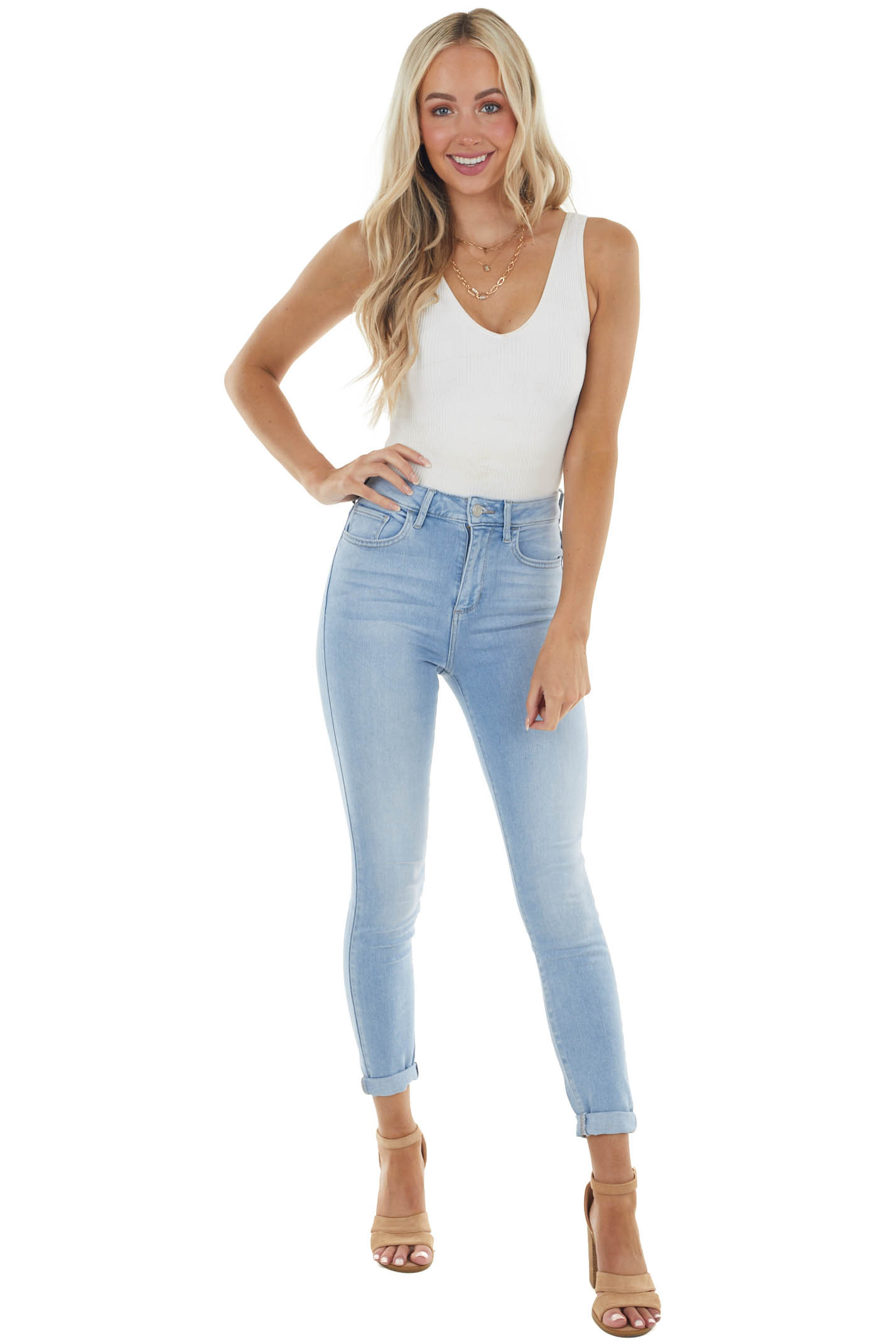 Light Wash Denim Mid Rise Jeans with Rolled Cuffs