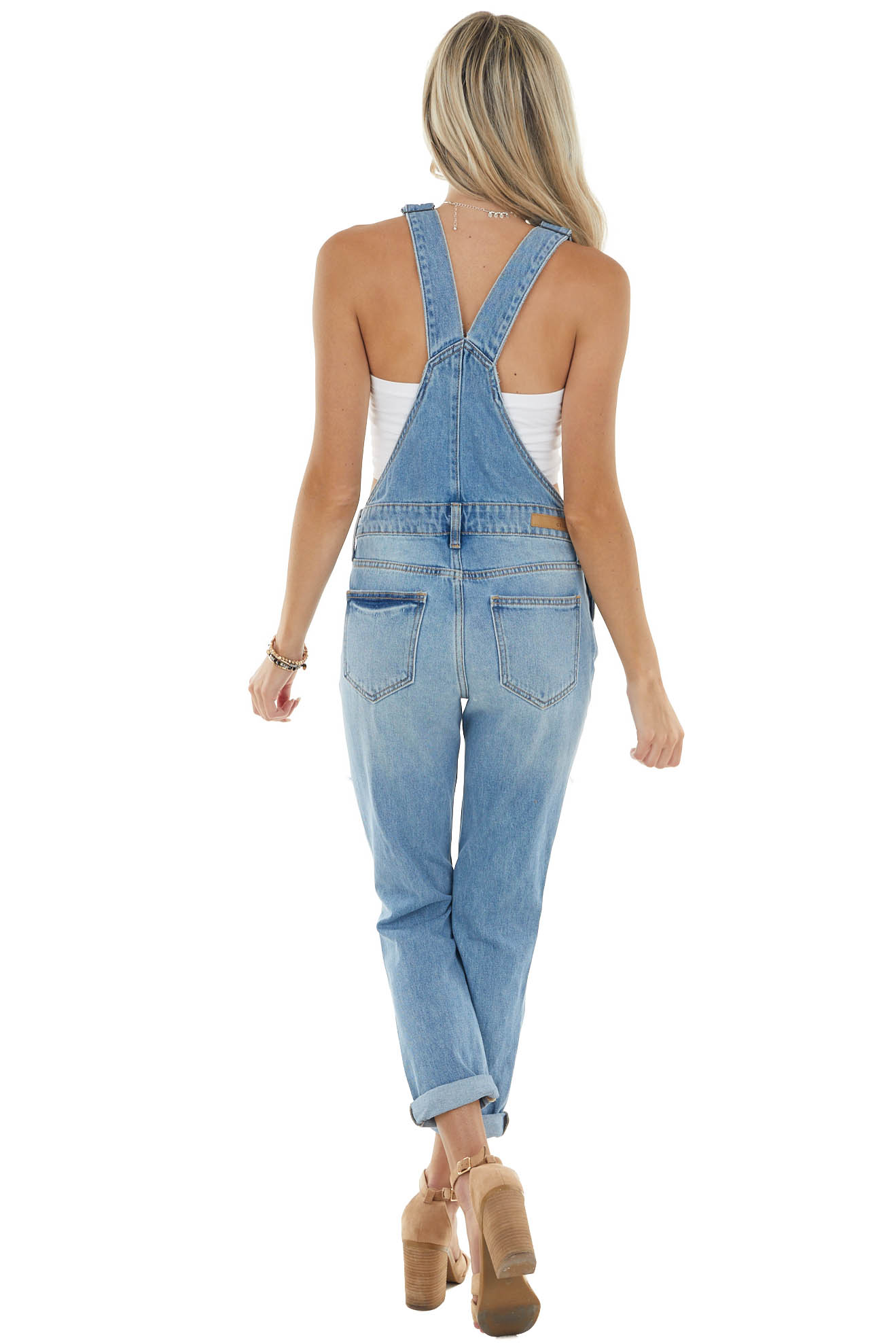 Medium Vintage Wash Heavily Distressed Overalls with Pockets