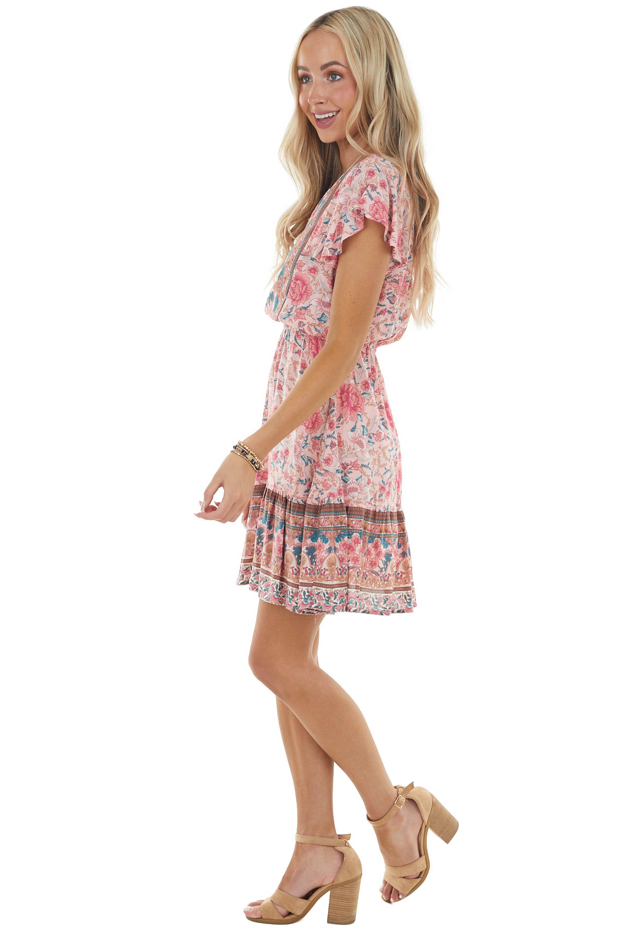 Carnation Floral Abstract Print Woven V Neck Mini Dress