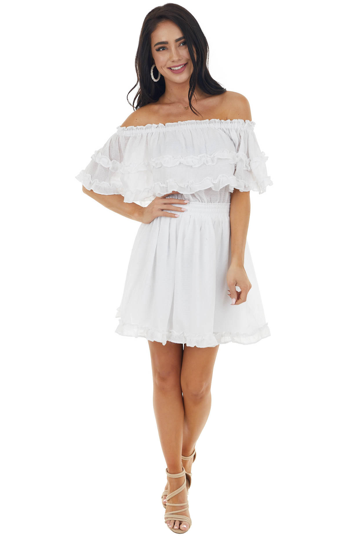 Pearl Off The Shoulder Short Dress with Ruffle Details