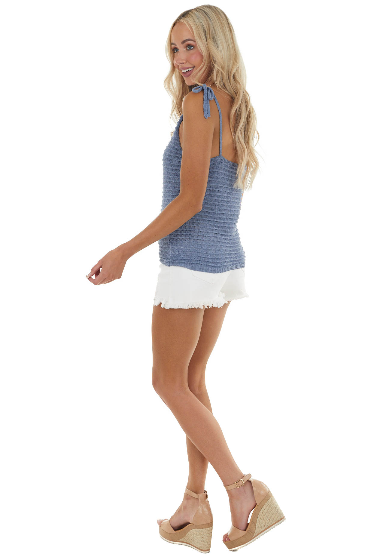 Dusty Blue Loose Knit V Neck Tank with Tie Closure Straps