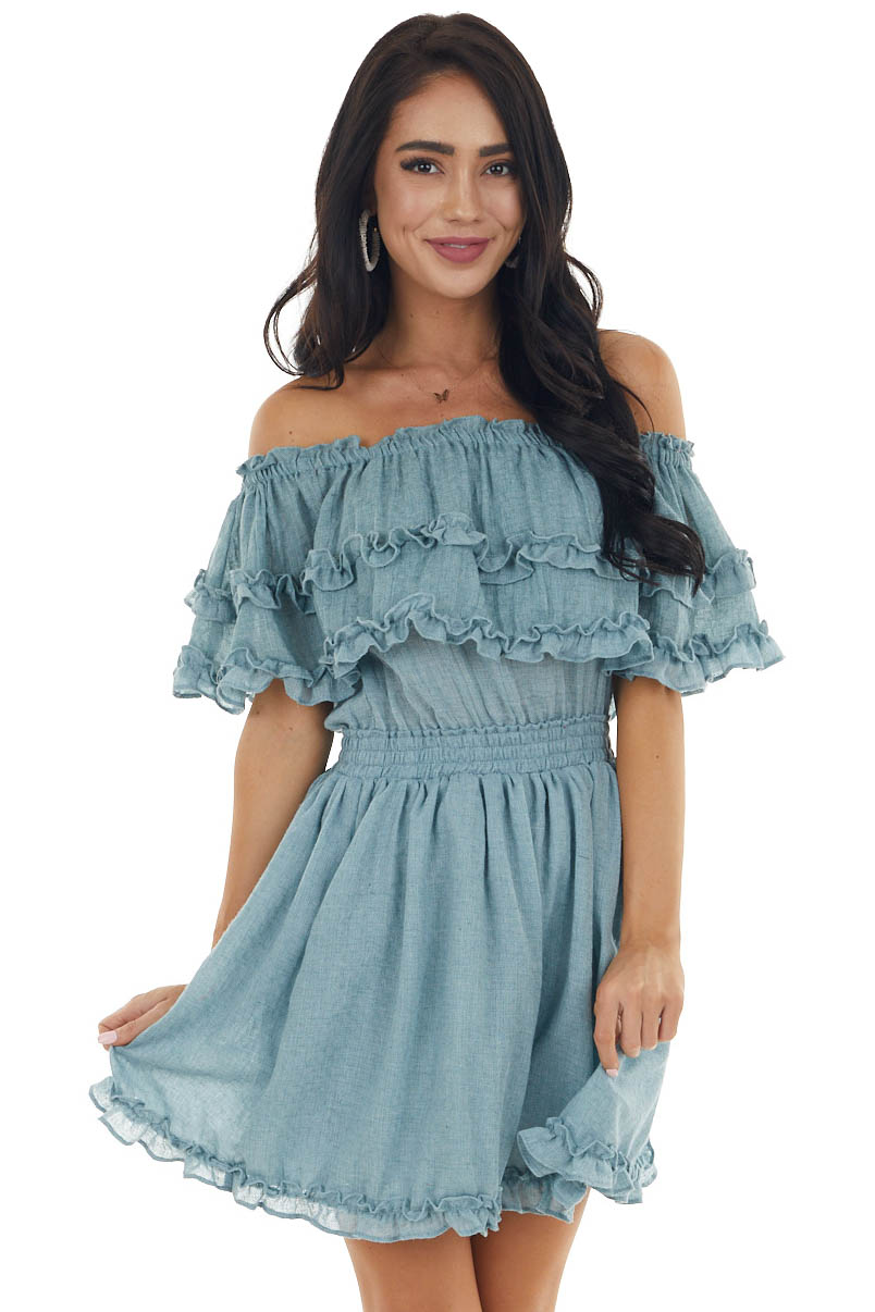 Powder Blue Off The Shoulder Short Dress with Ruffle Details