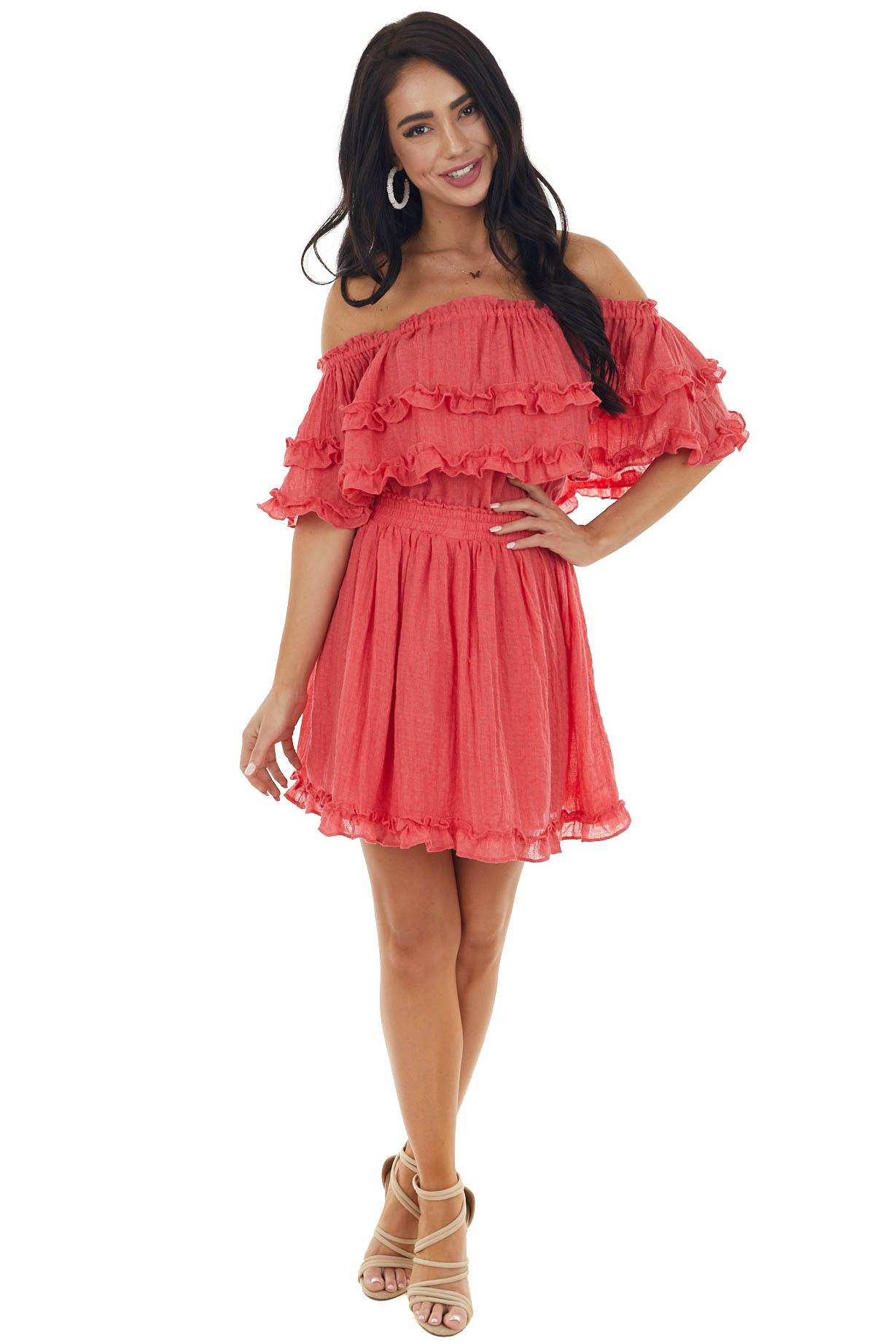 Watermelon Off The Shoulder Short Dress with Ruffle Details