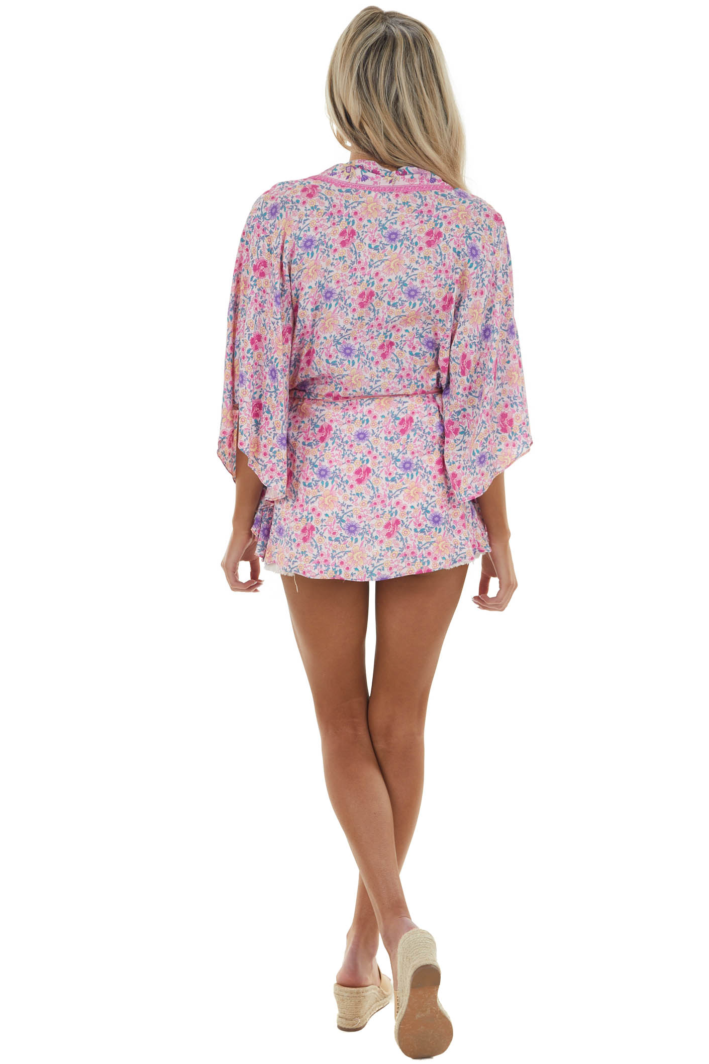 Baby Pink Floral Print Open Front Kimono with Front Tie