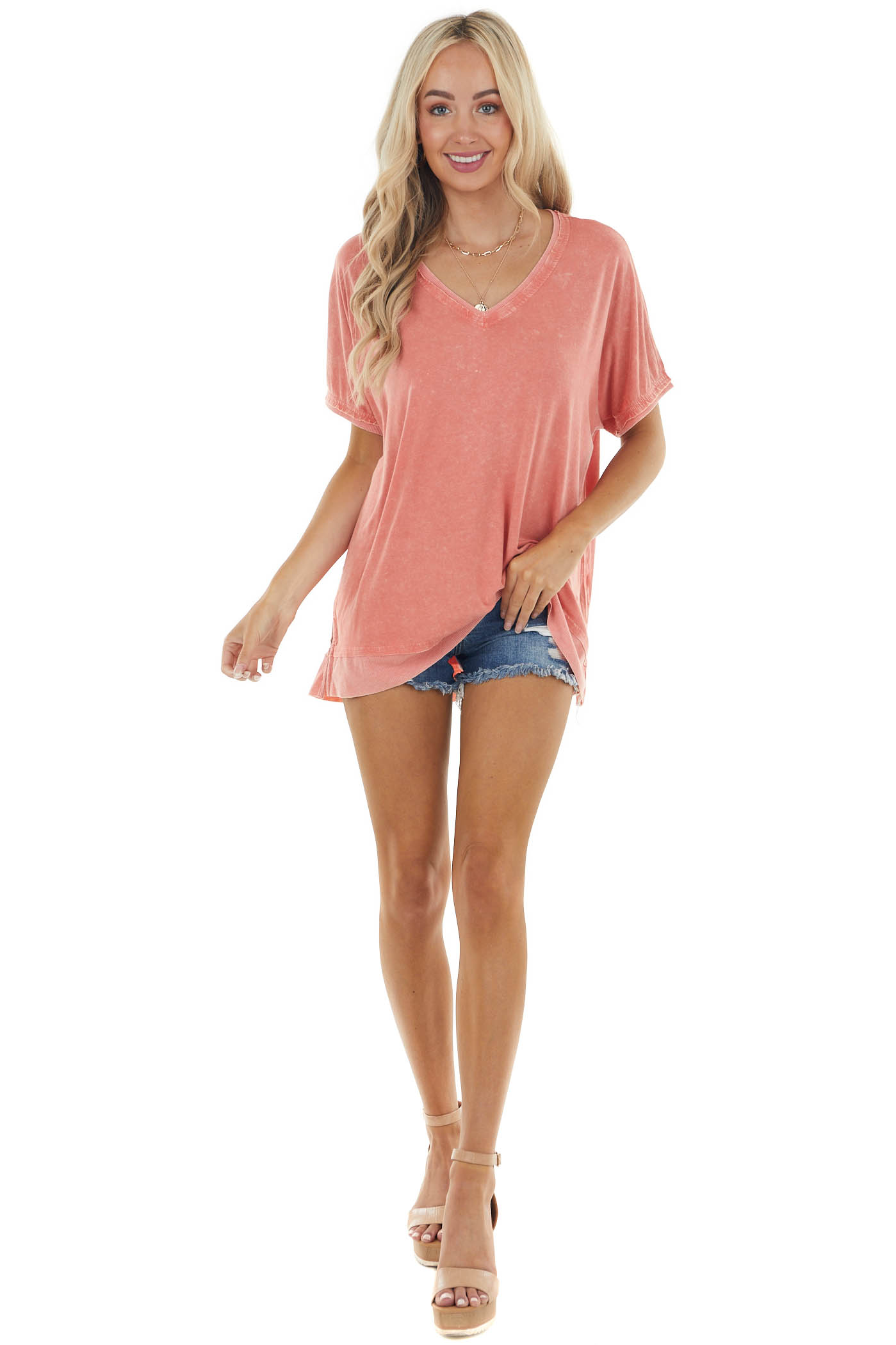 Salmon V Neck Stretchy Loose Knit Top with Short Sleeves