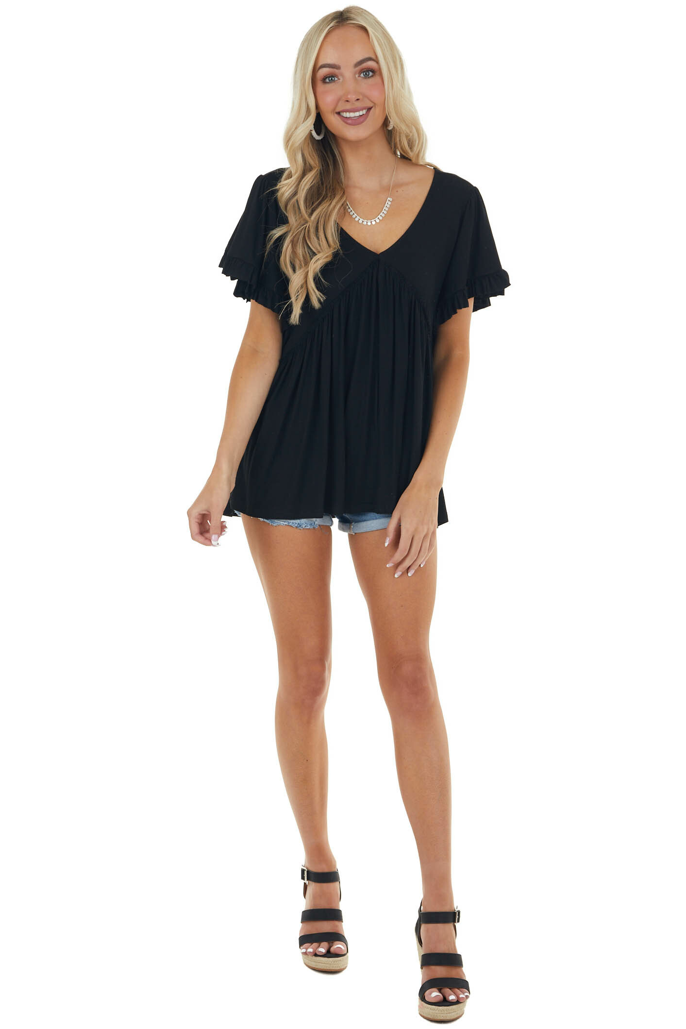 Black Soft Jersey Knit Top with Short Ruffle Sleeves