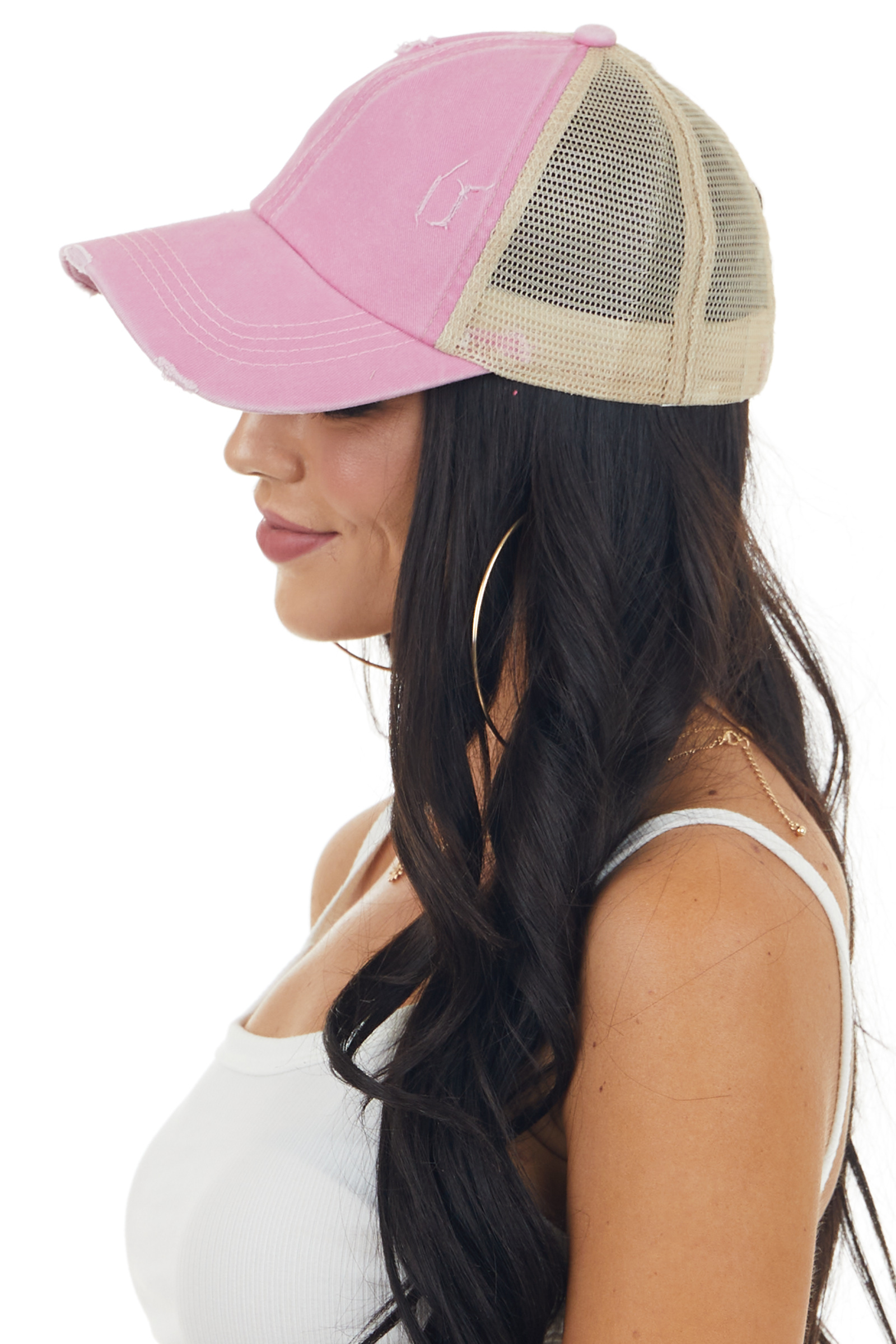 Vintage Carnation Distressed Trucker Cap with Mesh Detail