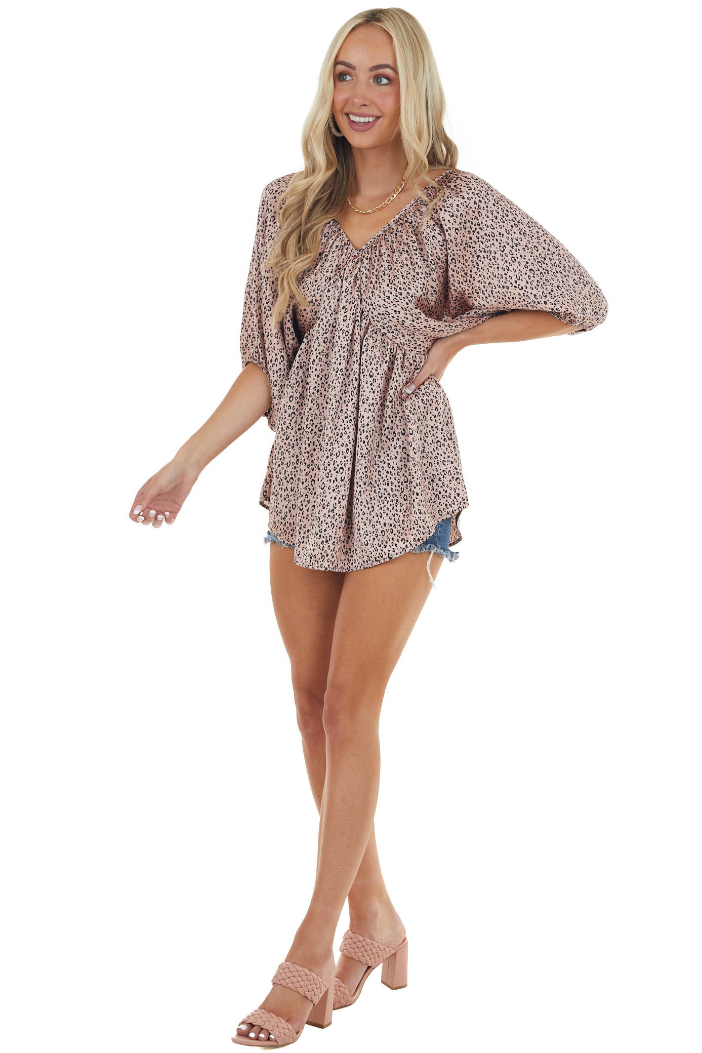 Dusty Blush Leopard Print V Neck Baby Doll Woven Top