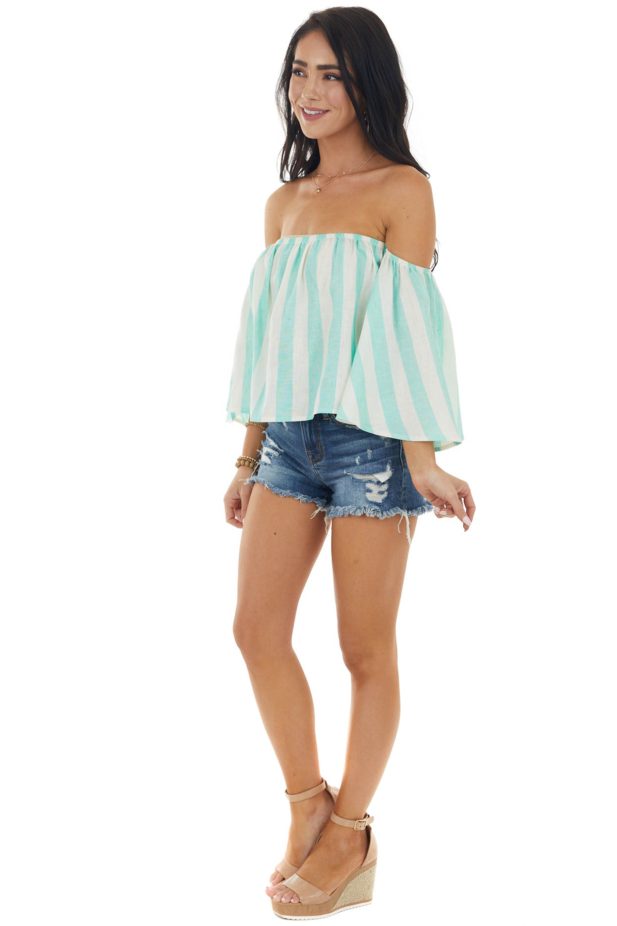Mint Striped Off the Shoulder Flared Sleeve Blouse
