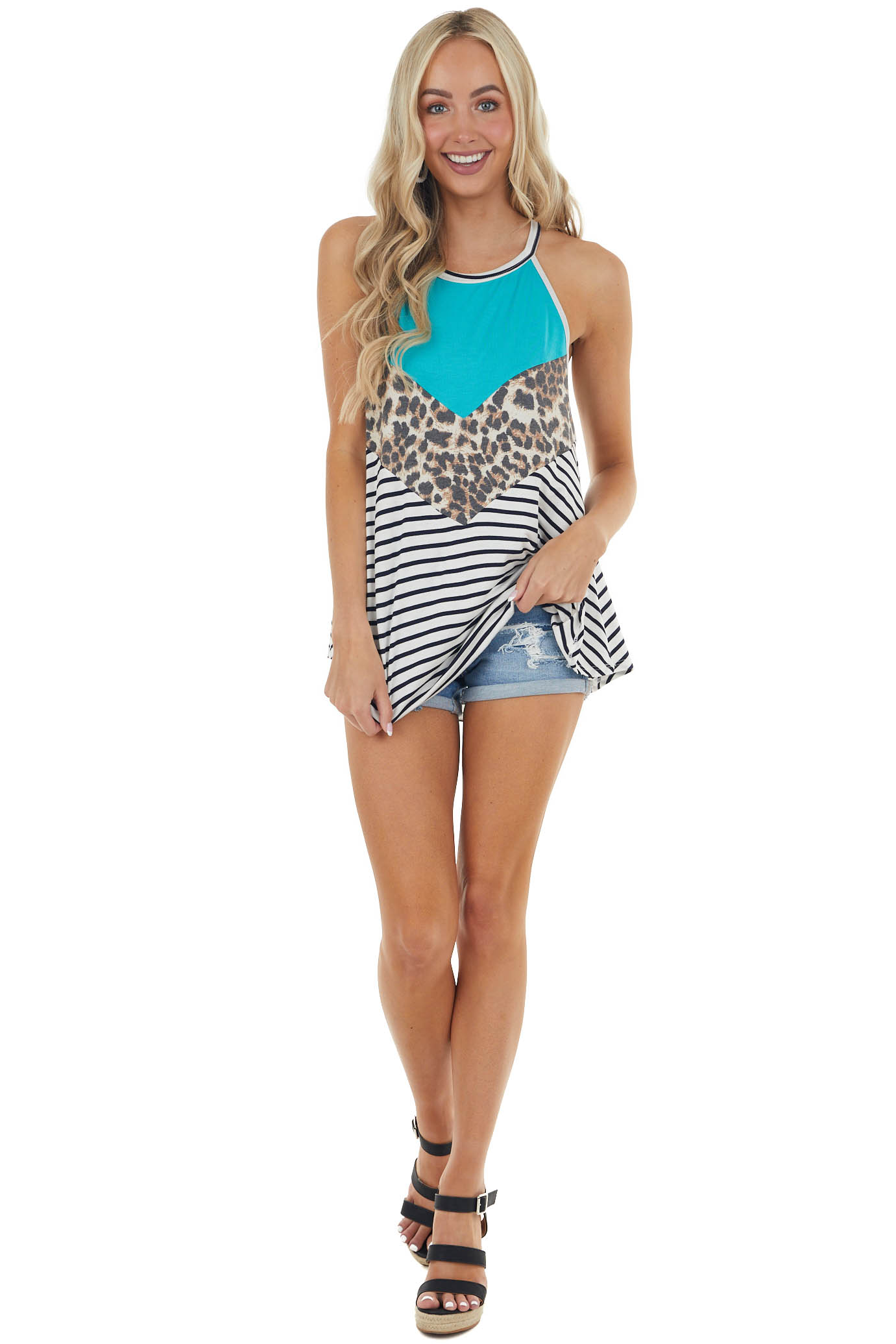 Turquoise and Striped Chevron Colorblock Halter Neck Top