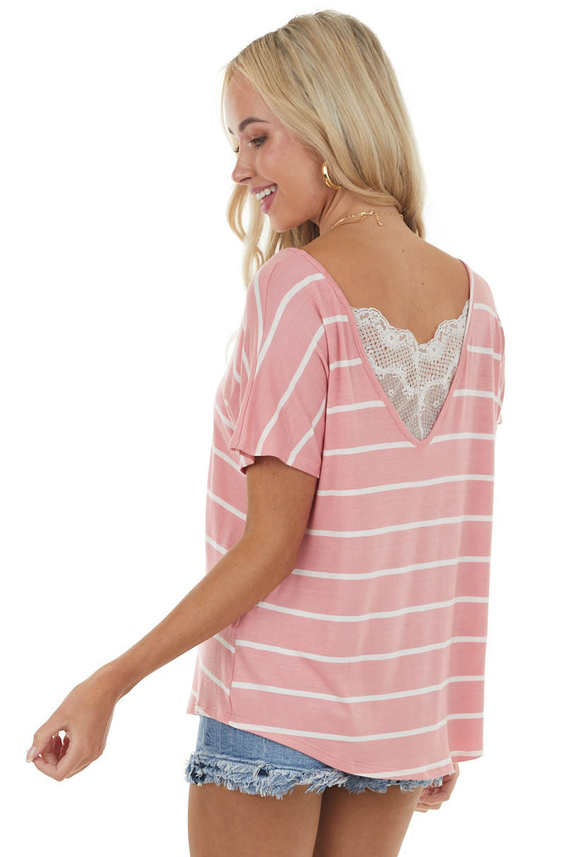 Light Pink Striped Short Sleeve Knit Top with Lace Detail