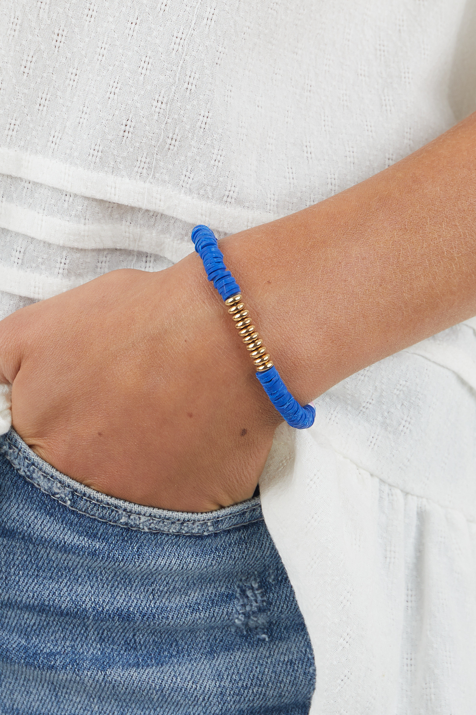 Catalina Disc Bead with Gold Bead Accent Elastic Bracelet