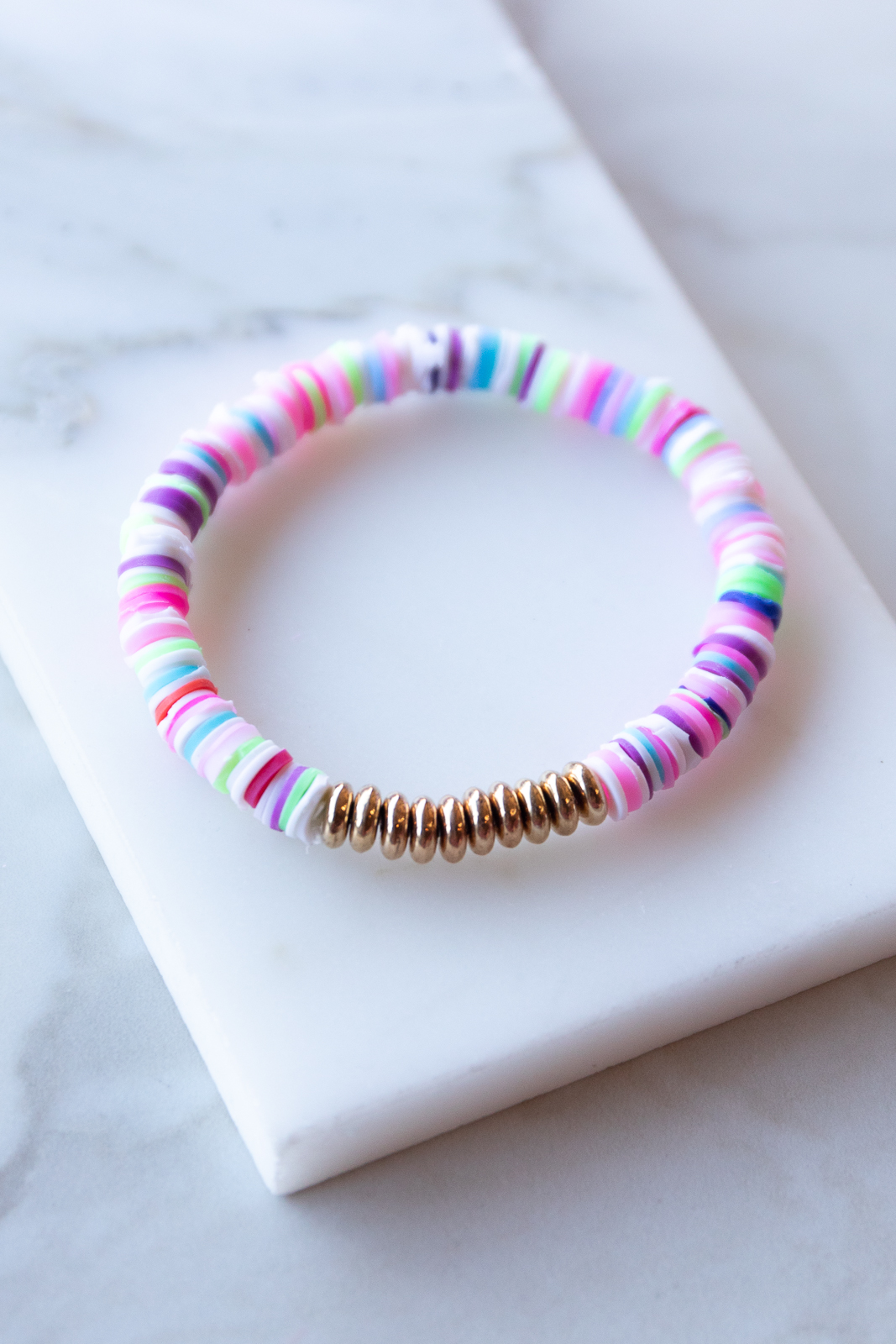 Multicolor Disc Bead with Gold Bead Accent Elastic Bracelet