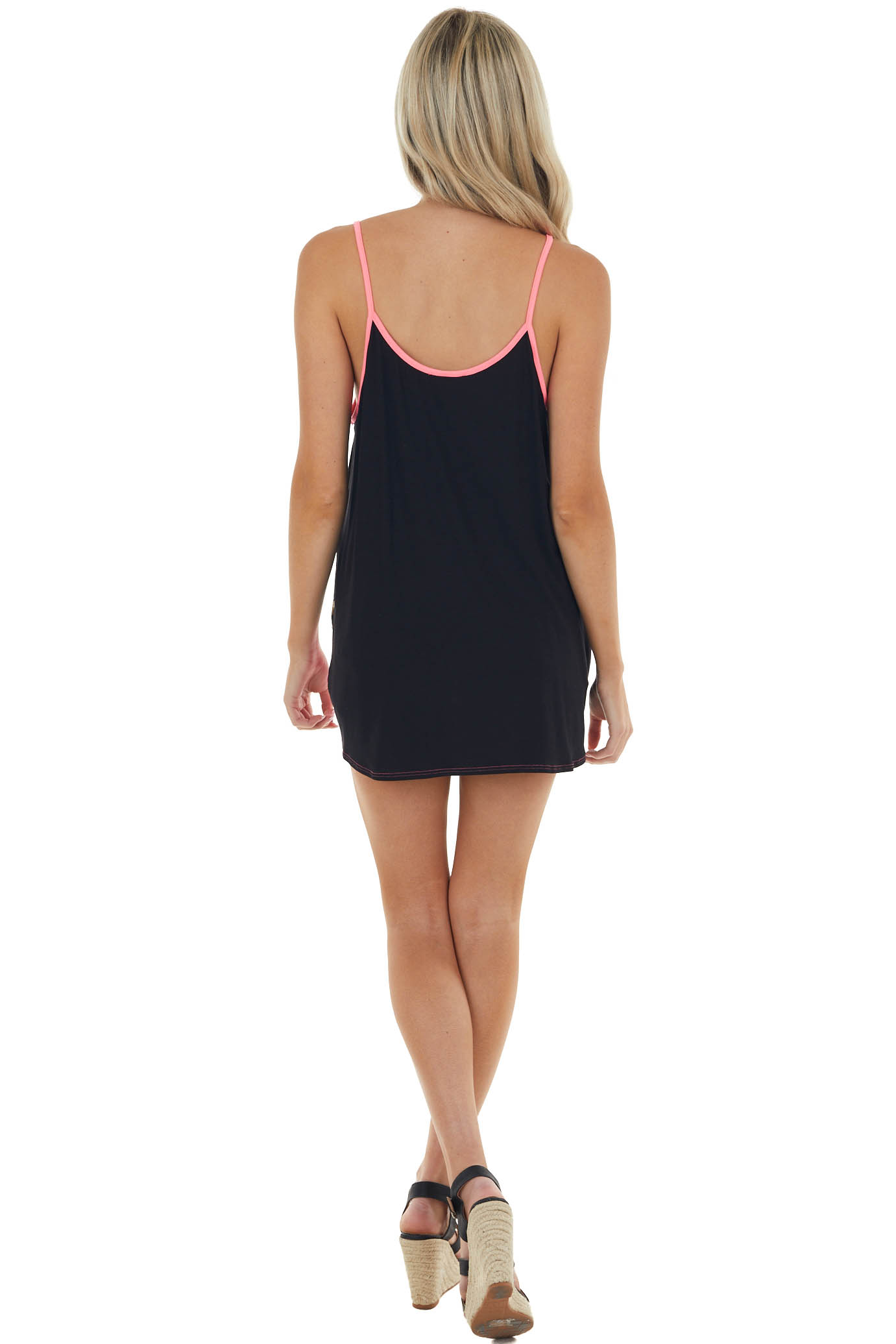 Black Colorblock Sleeveless Top with Caged Neckline