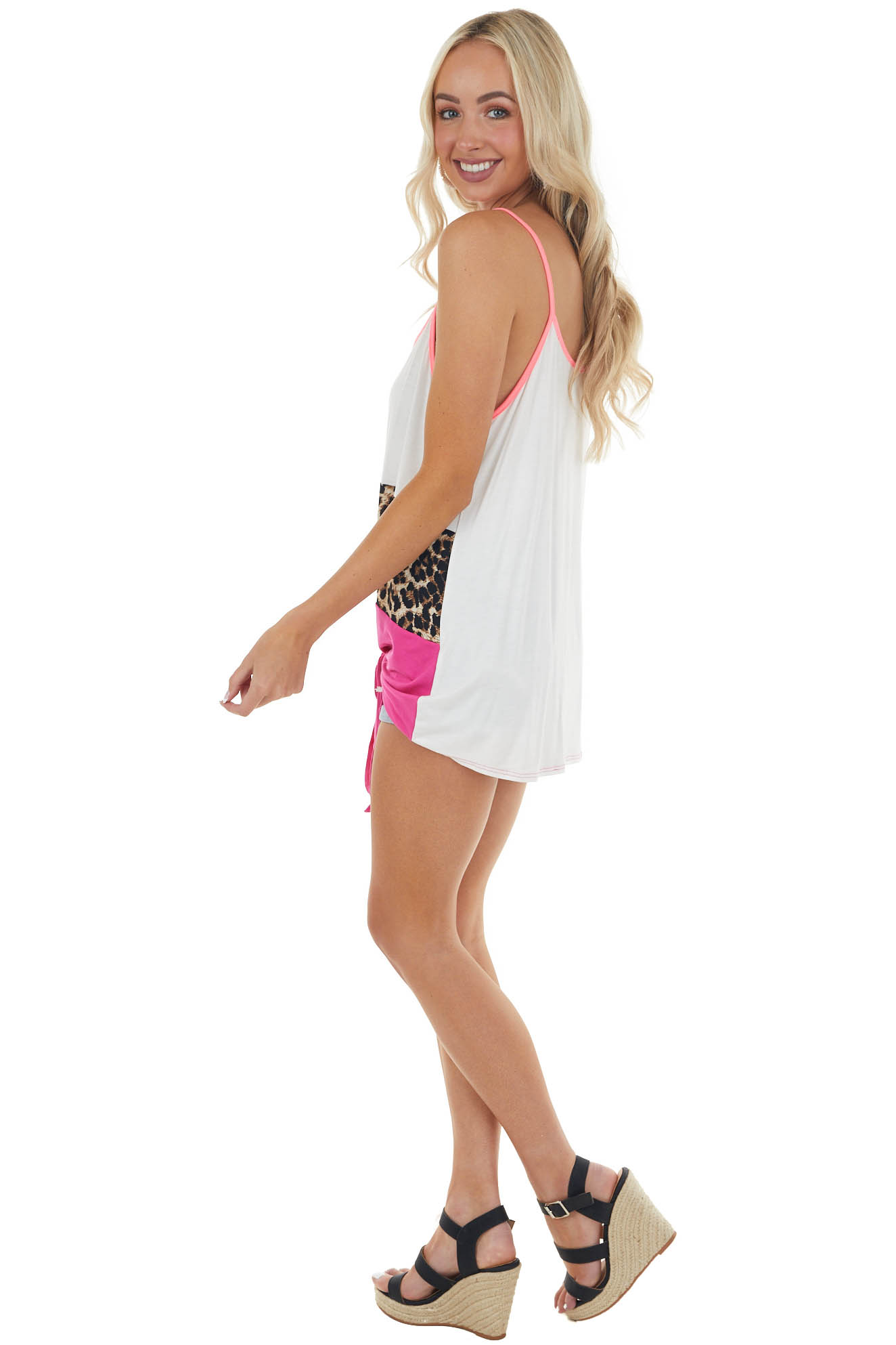 Ivory Colorblock Sleeveless Top with Caged Neckline