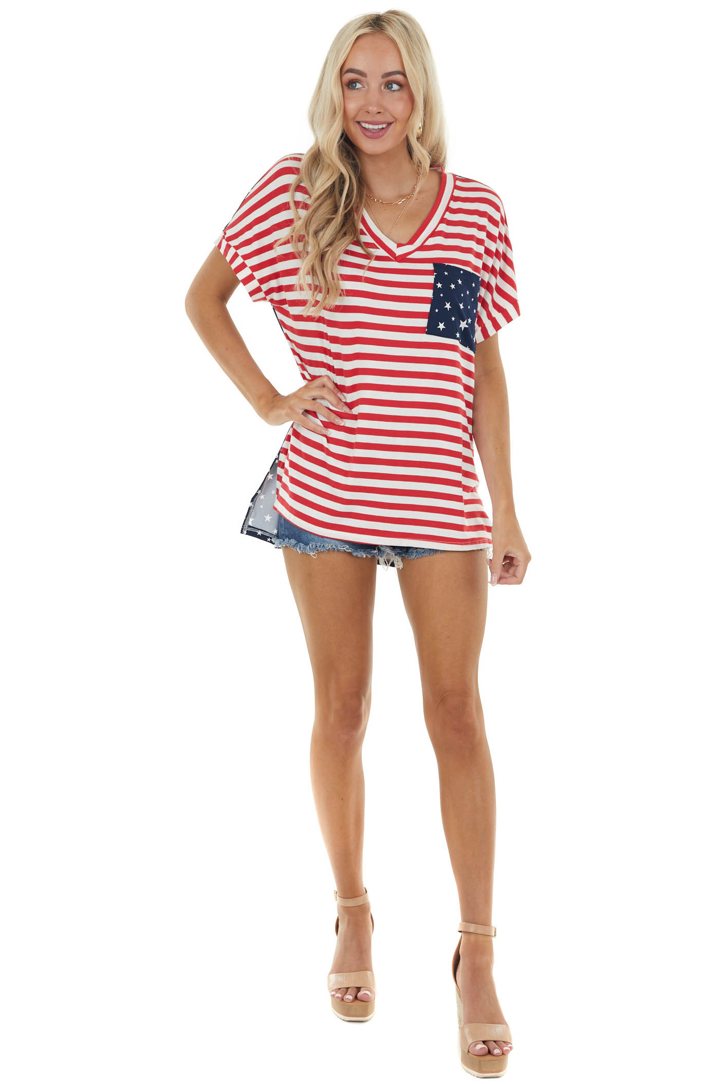 Red and Navy American Flag Printed V Neck Knit Top
