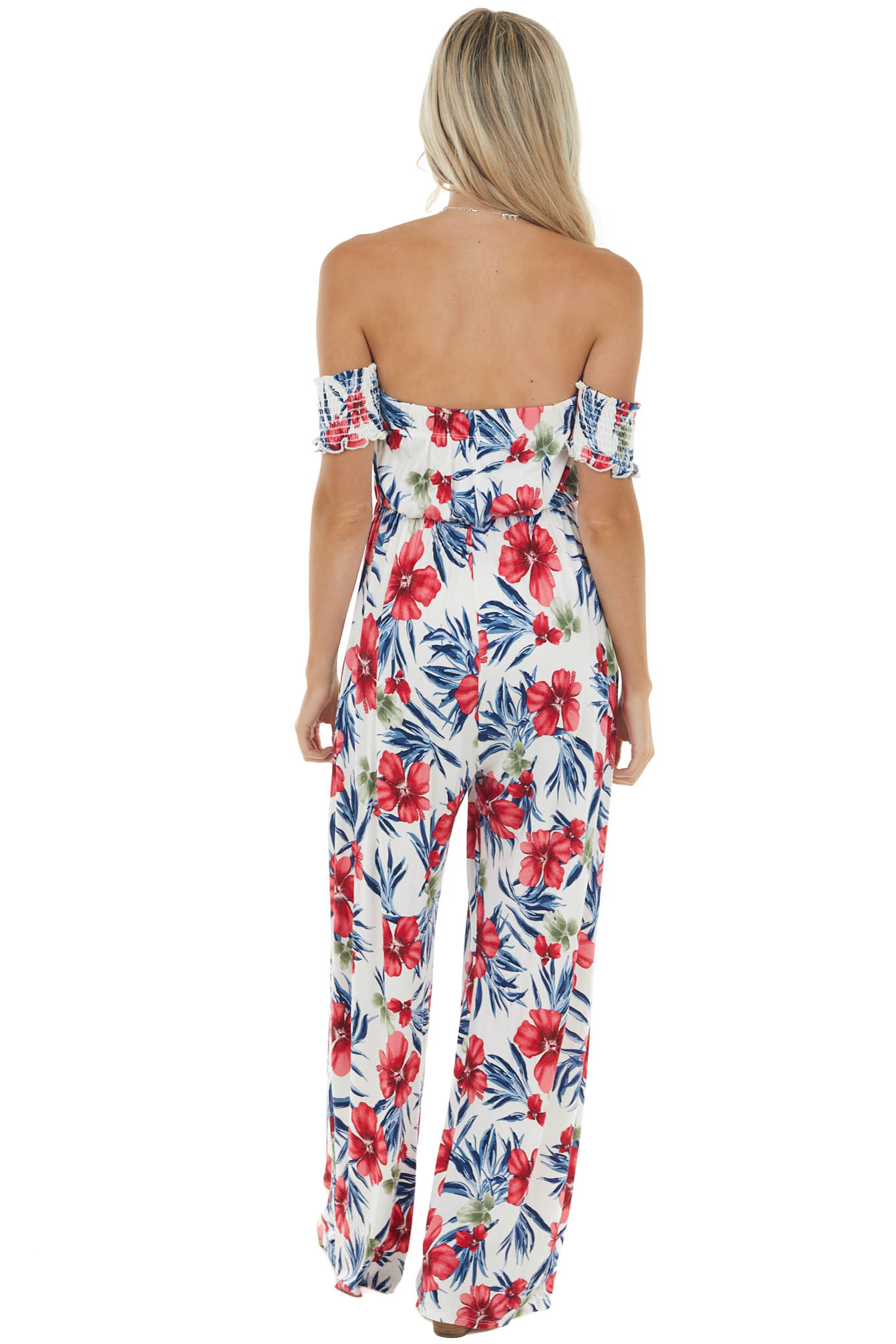 Off White and Hibiscus Floral Print Off Shoulder Jumpsuit
