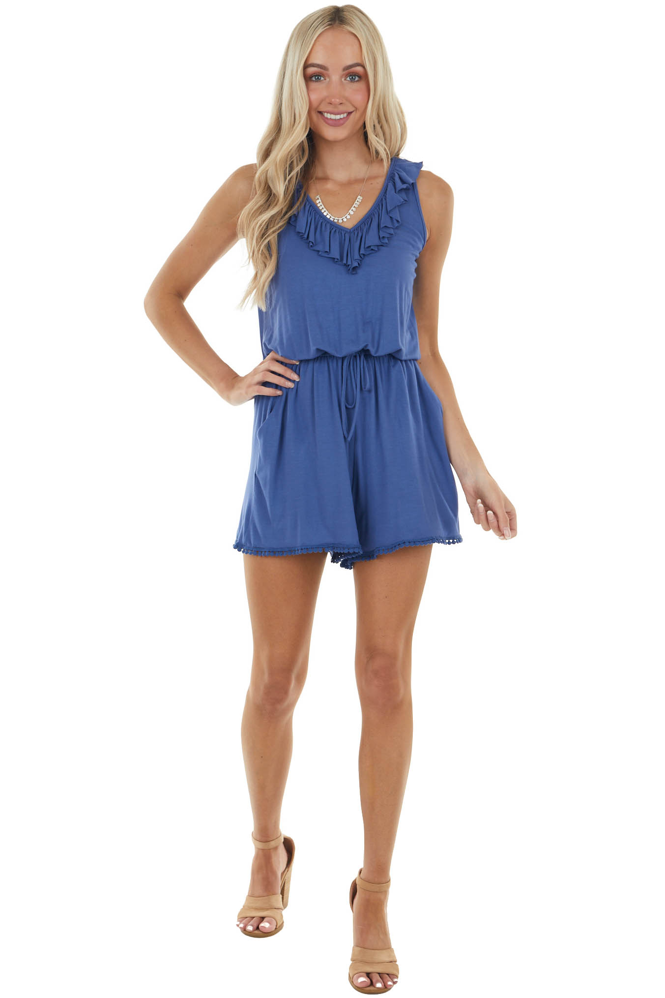 Cobalt Blue Sleeveless Romper with Lace Trim Details