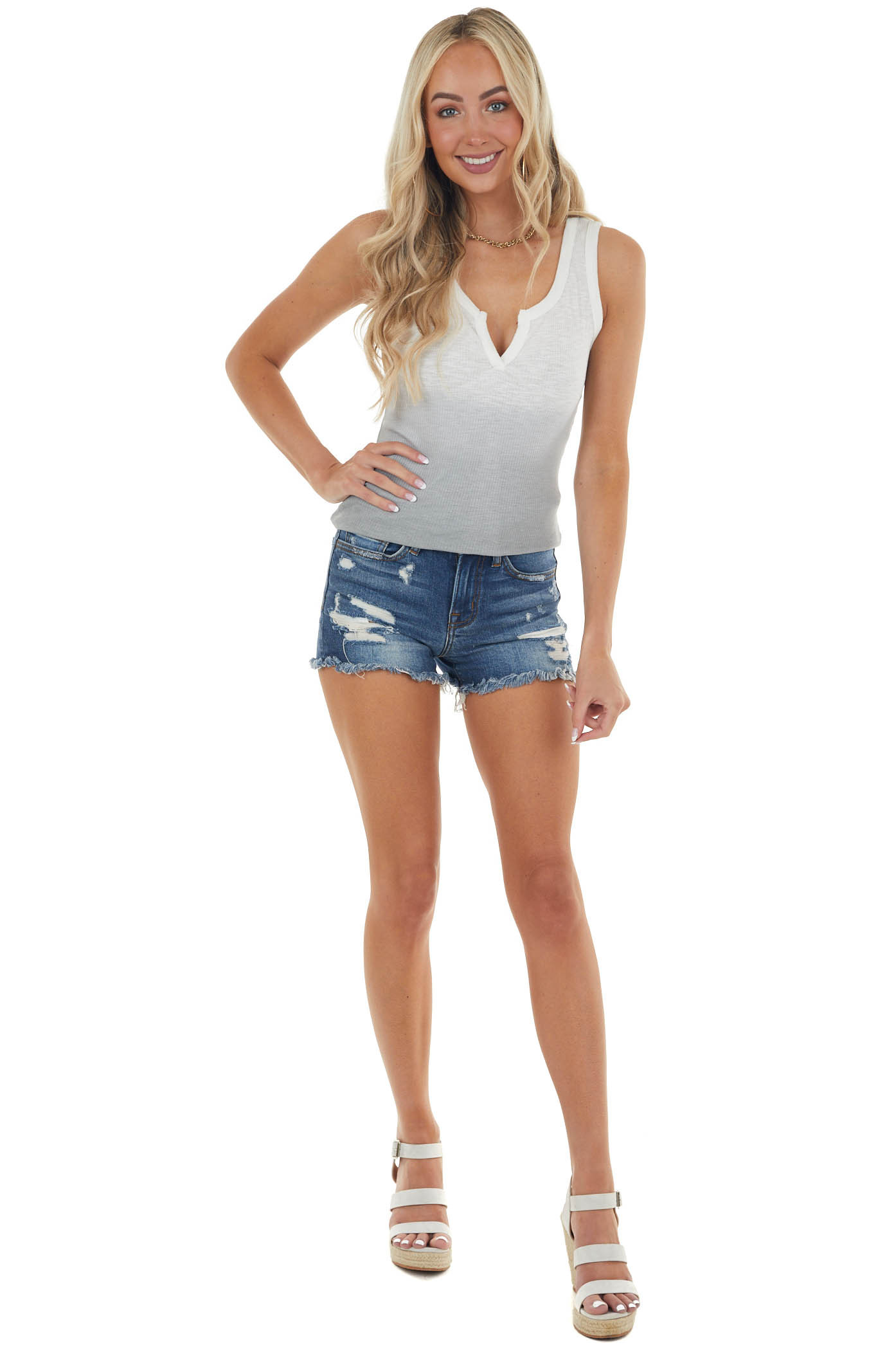 Dove Grey Ombre Ribbed Knit Tank Top with Notch Neckline